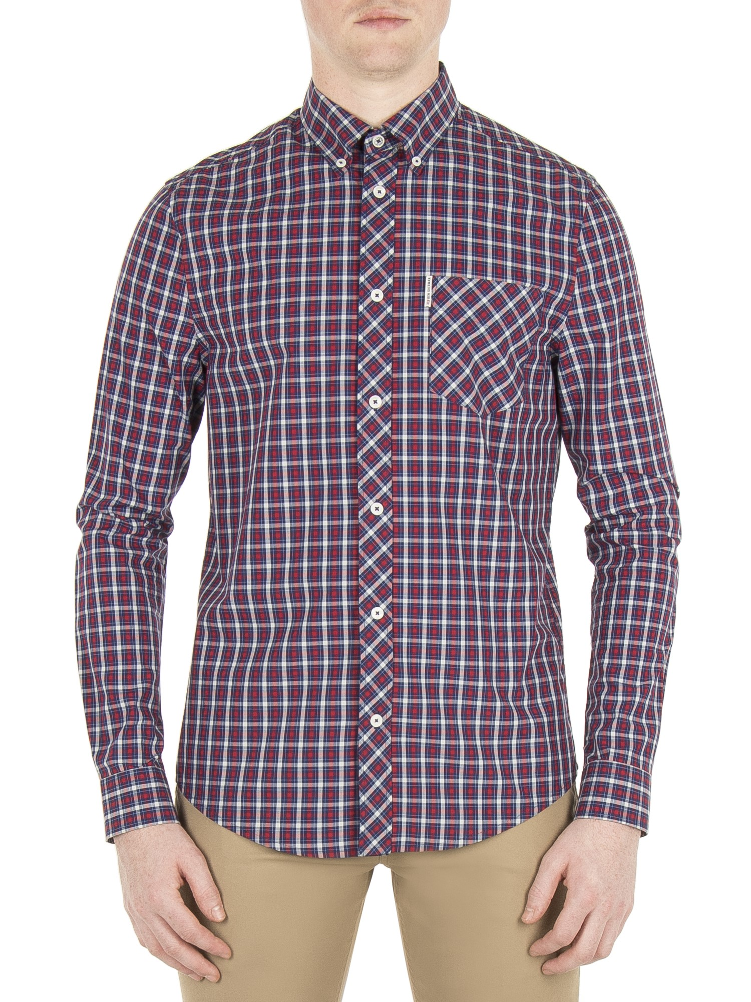 Ben Sherman Red Dahlia Long Sleeve House Check Shirt Regular Fit (Mod Fit)