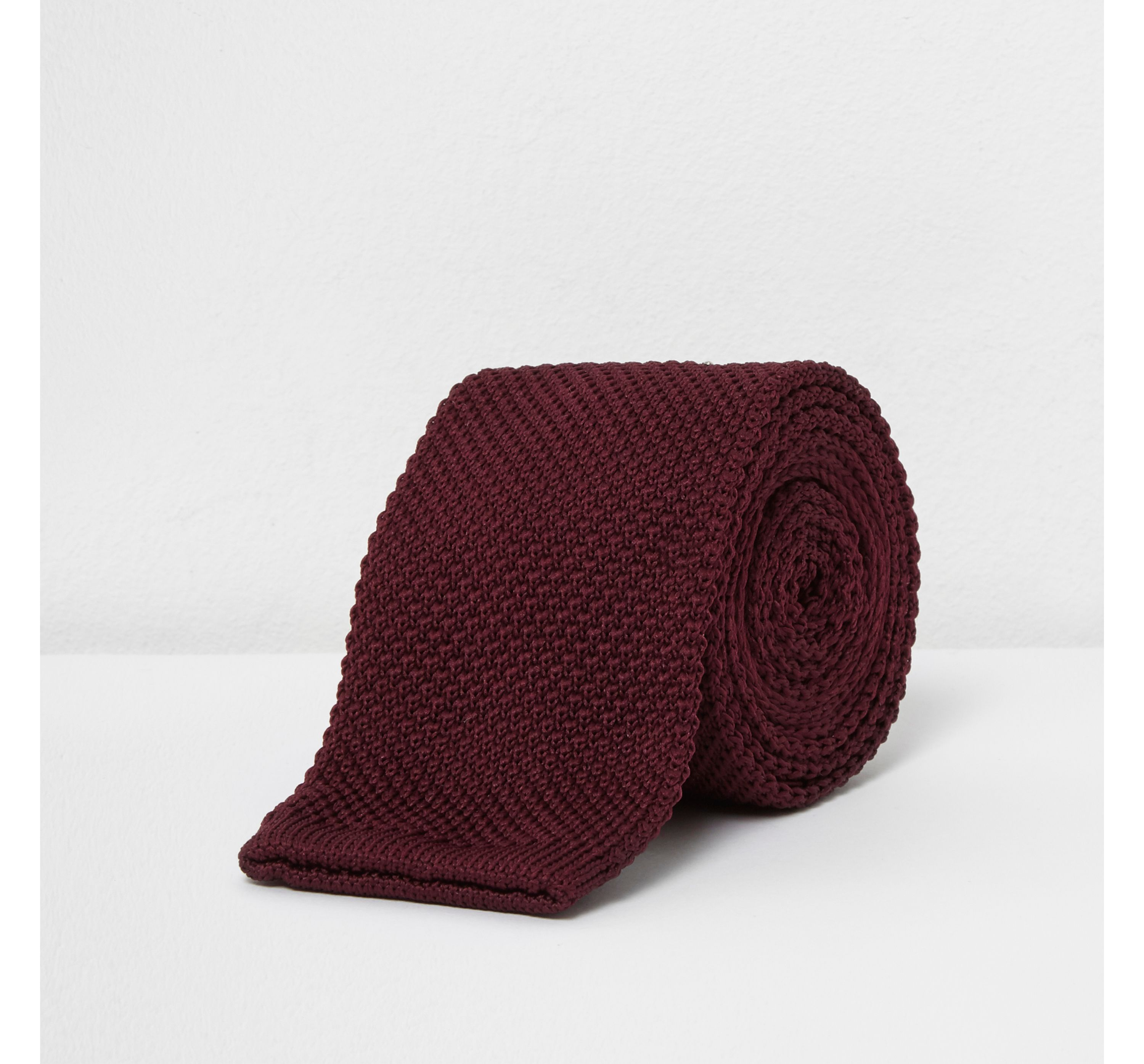 River Island Mens Dark Red knitted tie