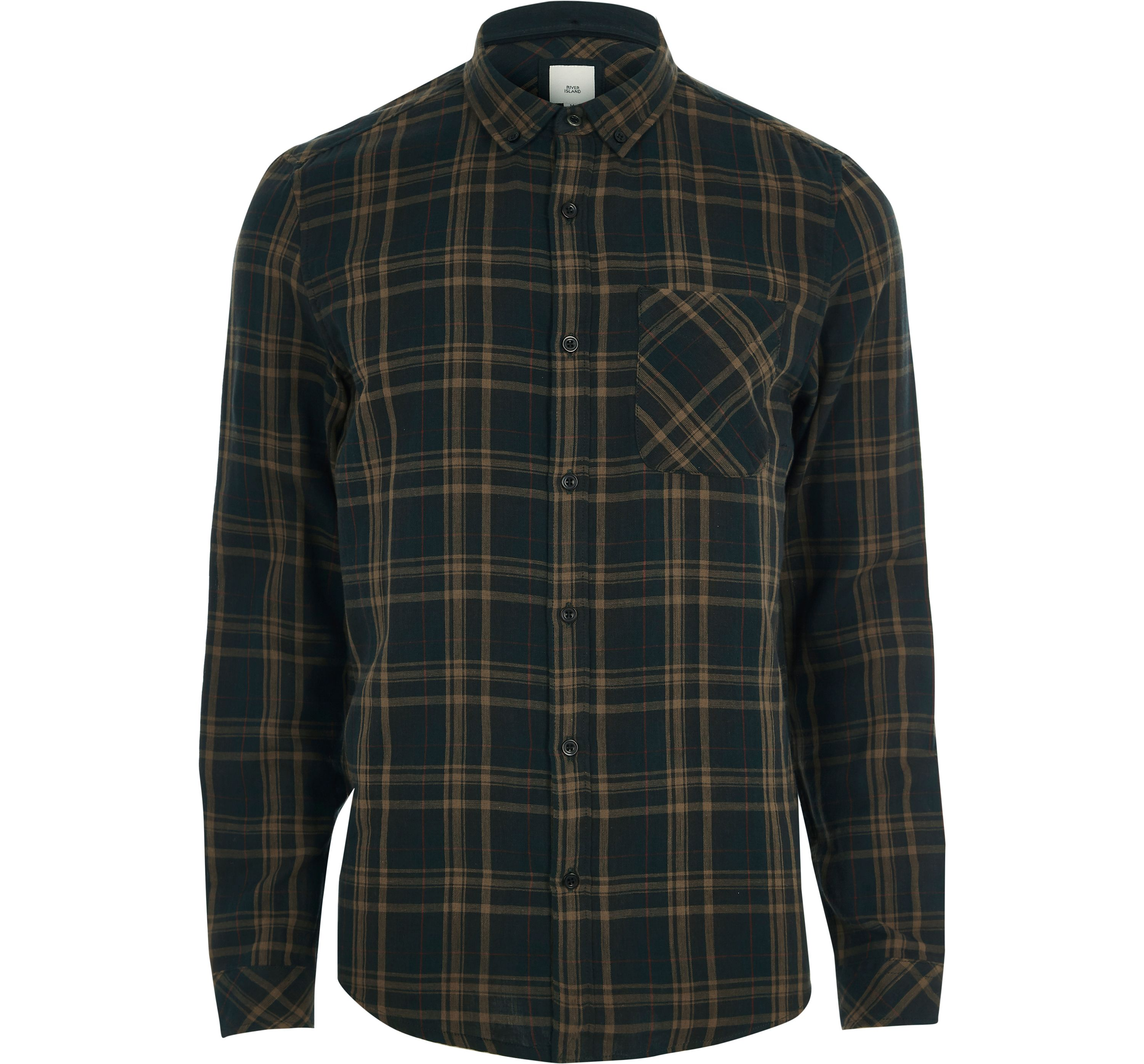 River Island Mens Green double face check long sleeve shirt
