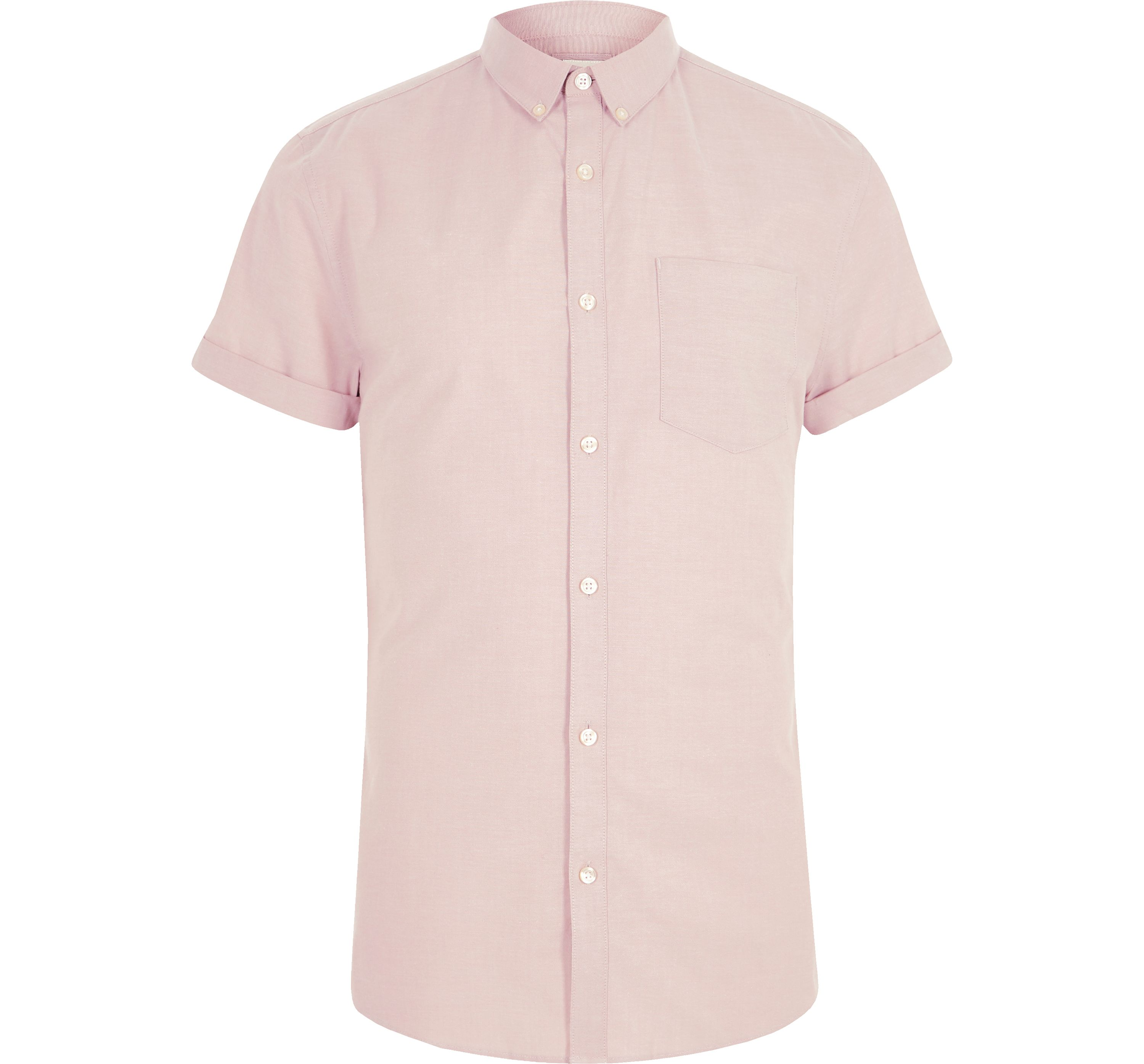 River Island Mens Pink muscle fit short sleeve Oxford shirt