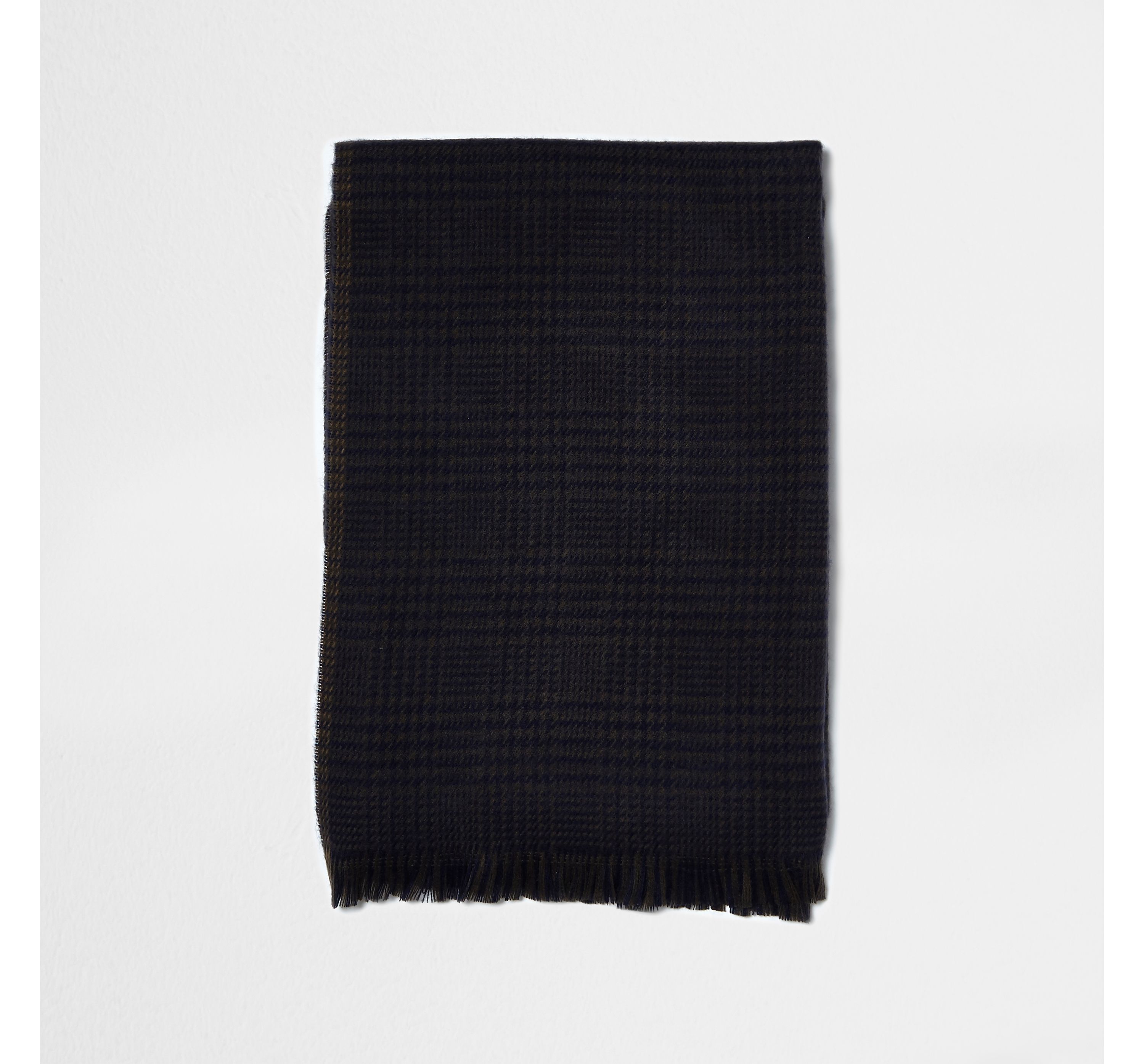 River Island Mens Brown and navy heritage check blanket scarf
