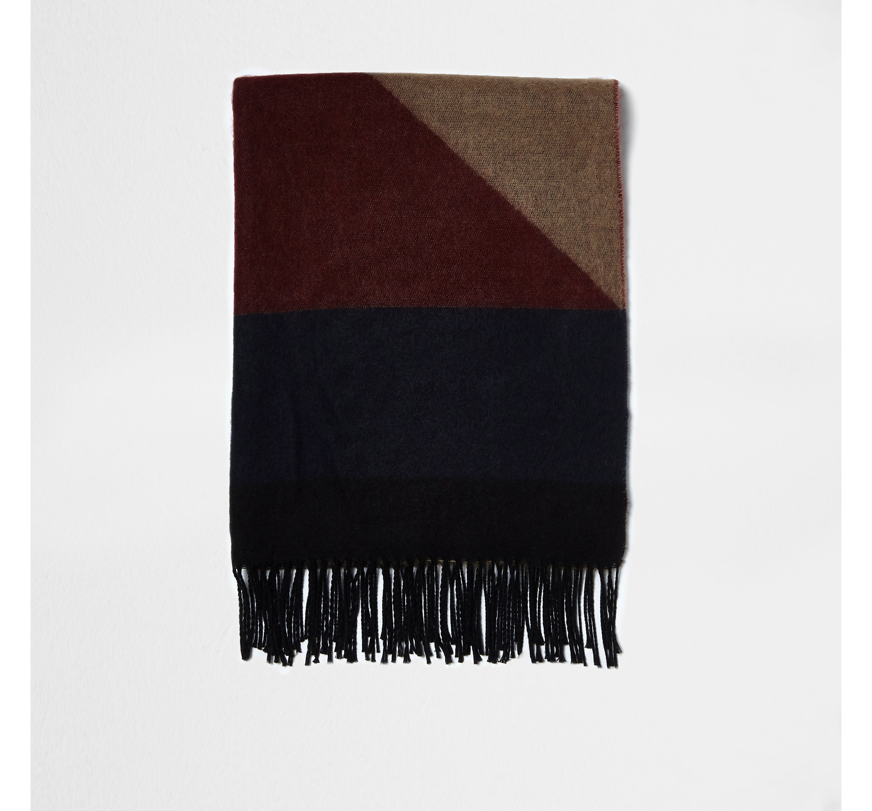 River Island Mens Grey and camel blocked blanket scarf