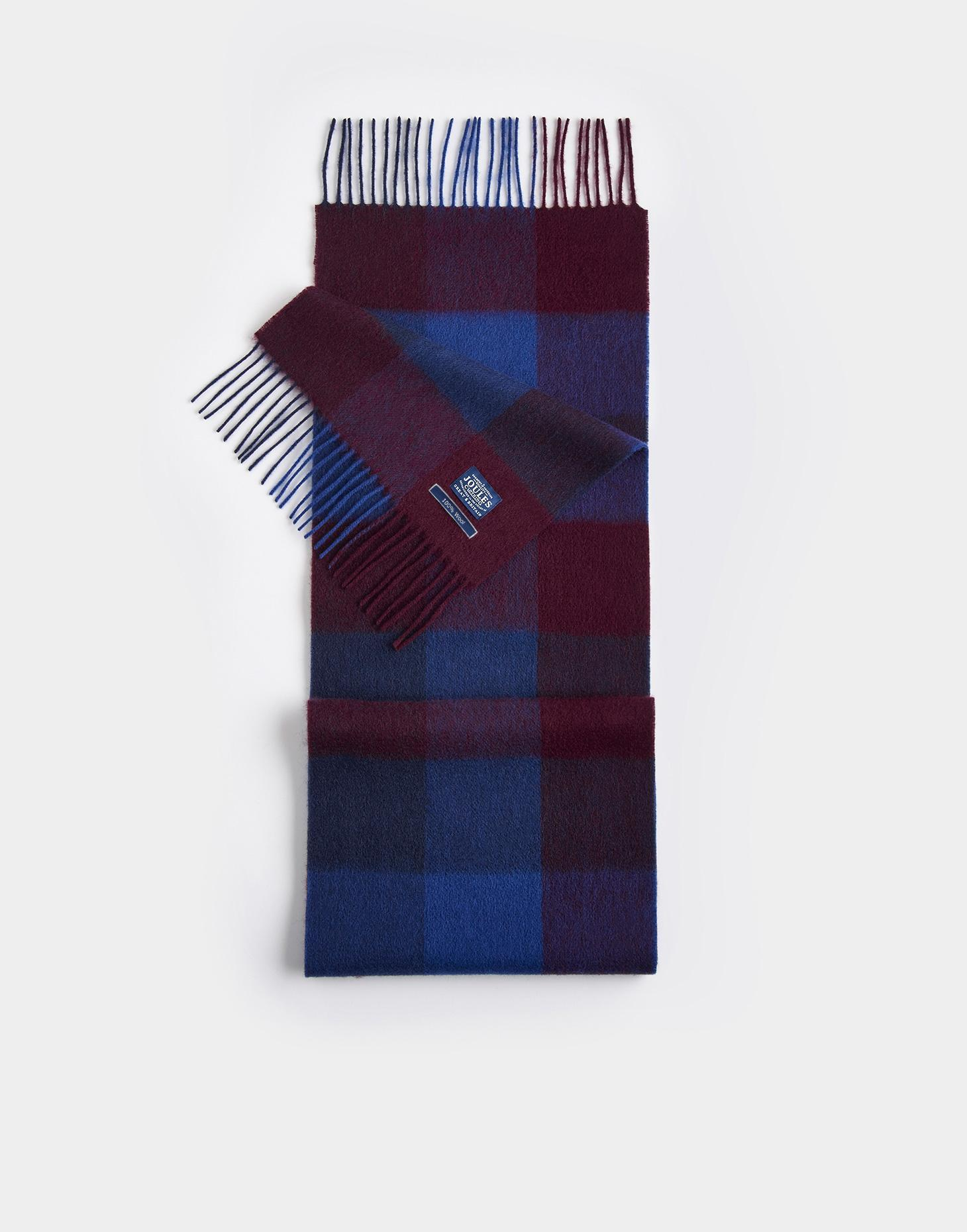 Joules French Navy Gingham TYTHERTON Wool Scarf