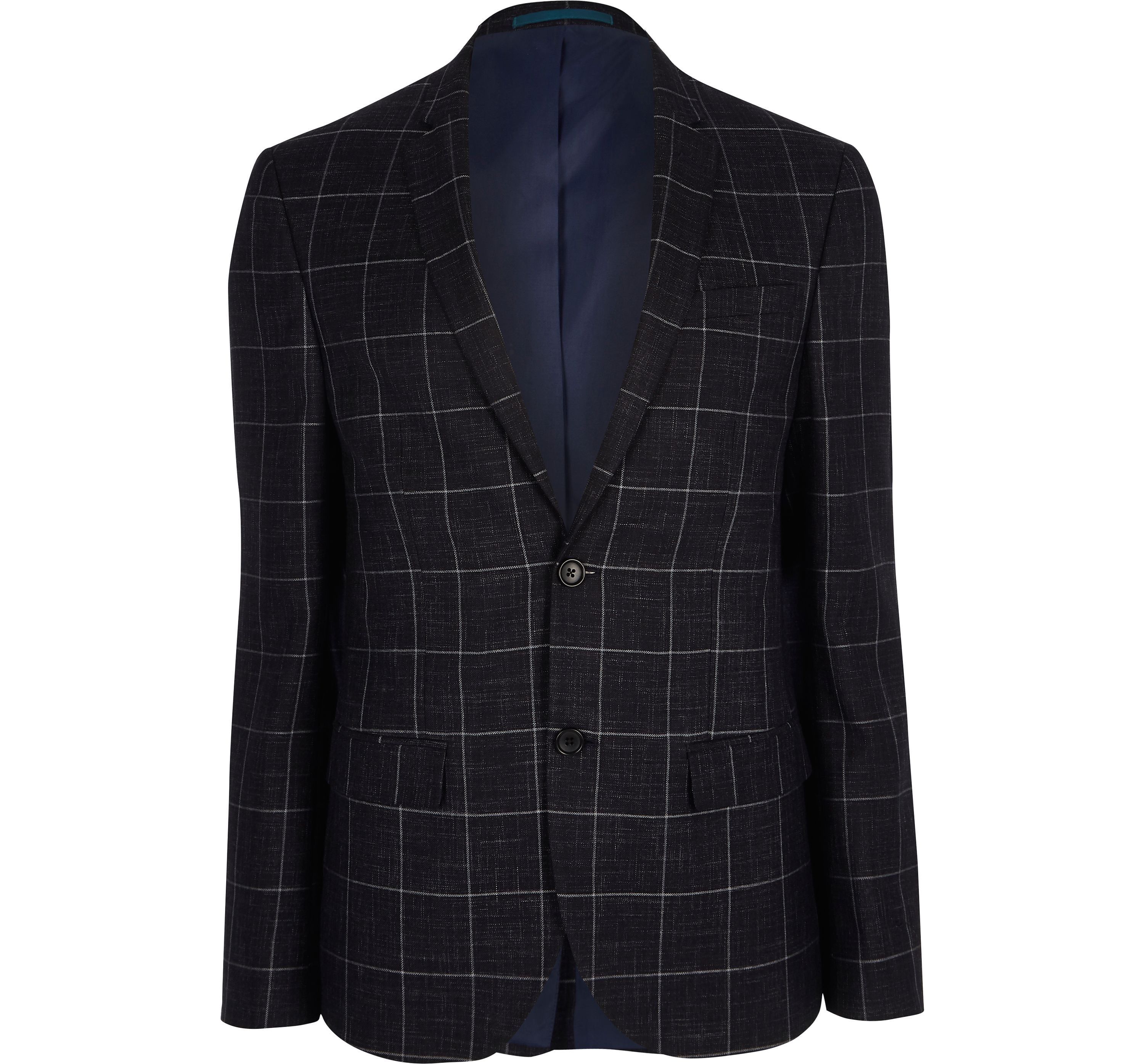 River Island Mens Navy window check skinny fit suit jacket