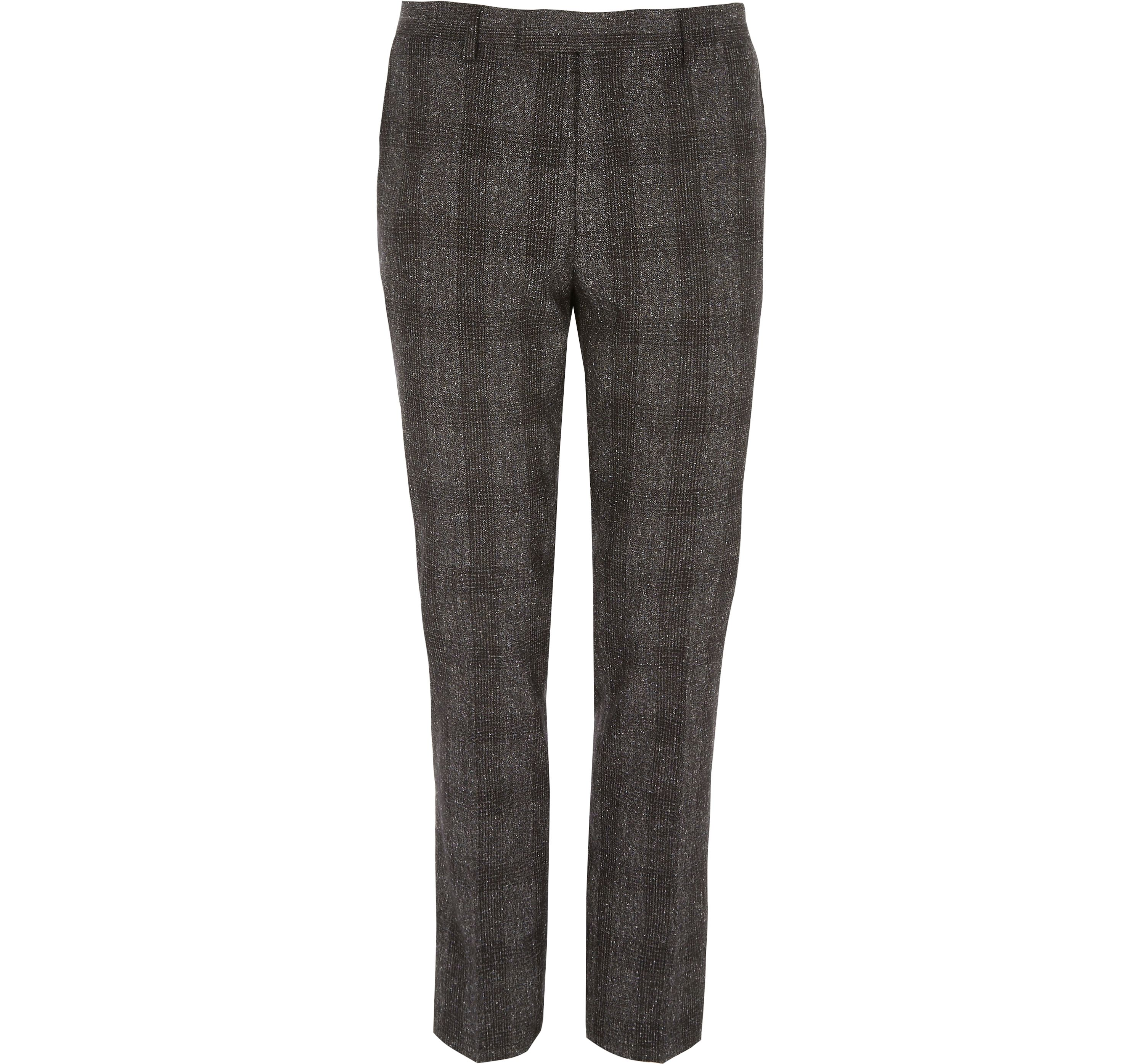River Island Mens Grey check skinny suit trousers