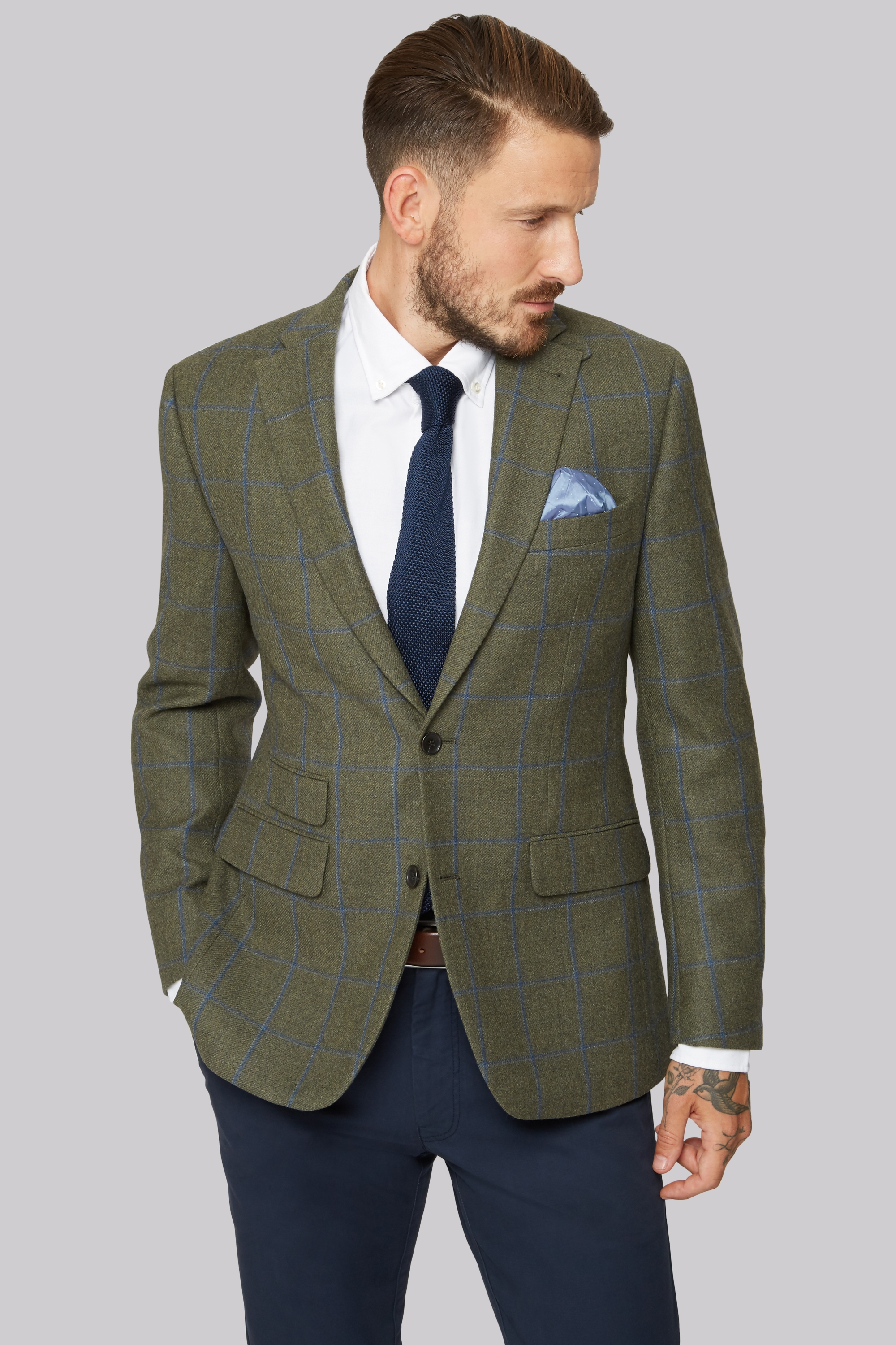 Moss Bros Moss 1851 Green with Blue Windowpane check Jacket