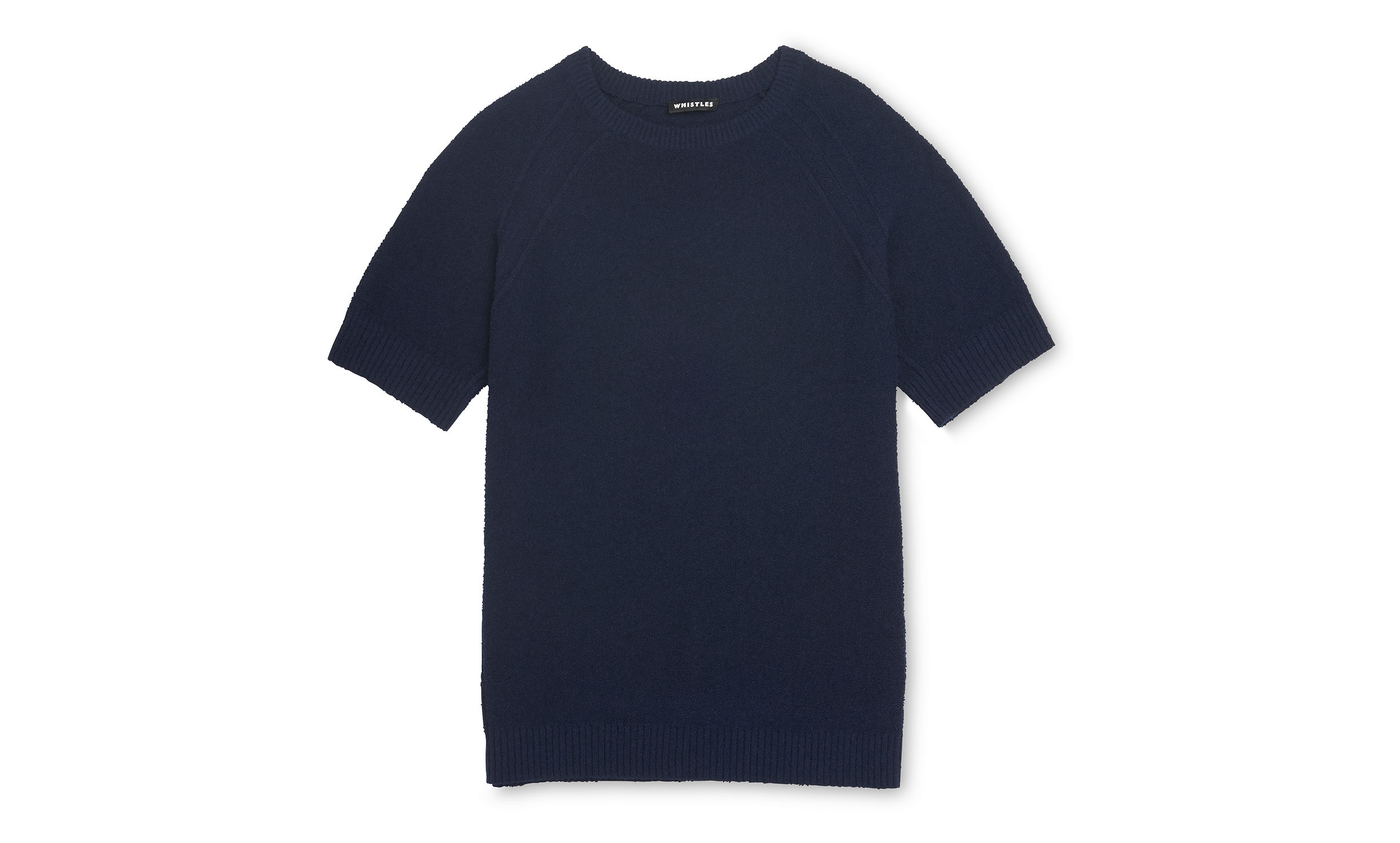 Whistles Navy Textured knit t-shirt