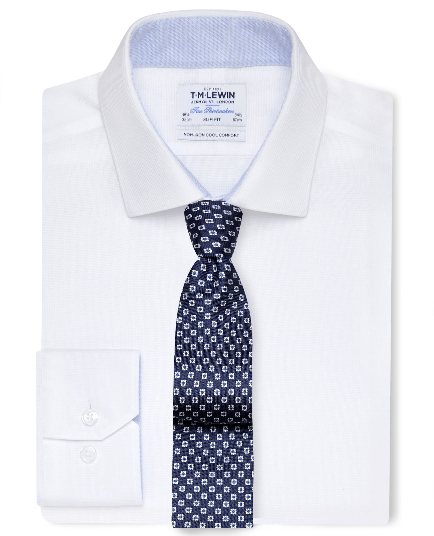 T.M.Lewin Cool Comfort Non-Iron Slim Fit White Dobby Weave Shirt - Button Cuff