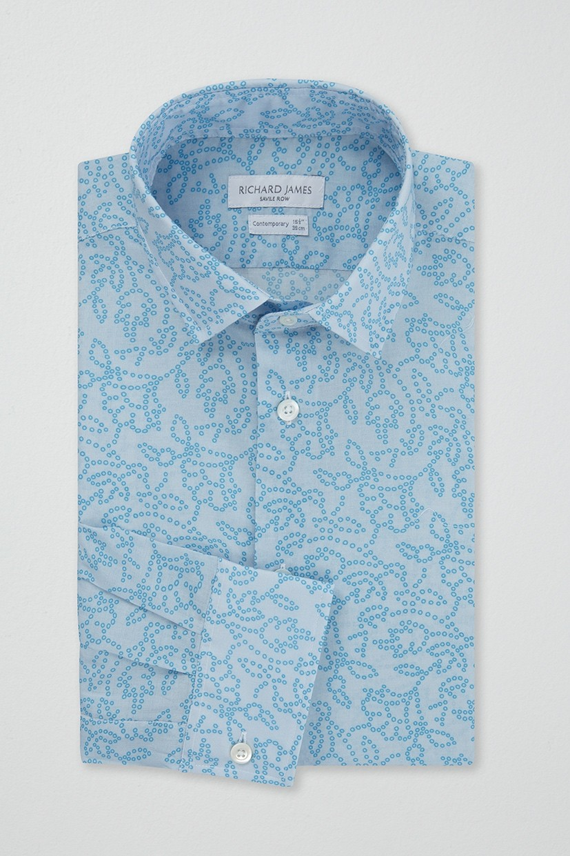Richard James Contemporary Shirt - Aqua Floral Circles