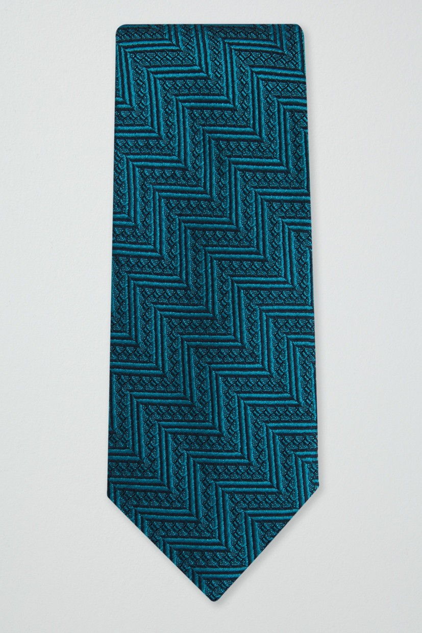 Richard James Slim Richard James Tie – Peacock Chevron