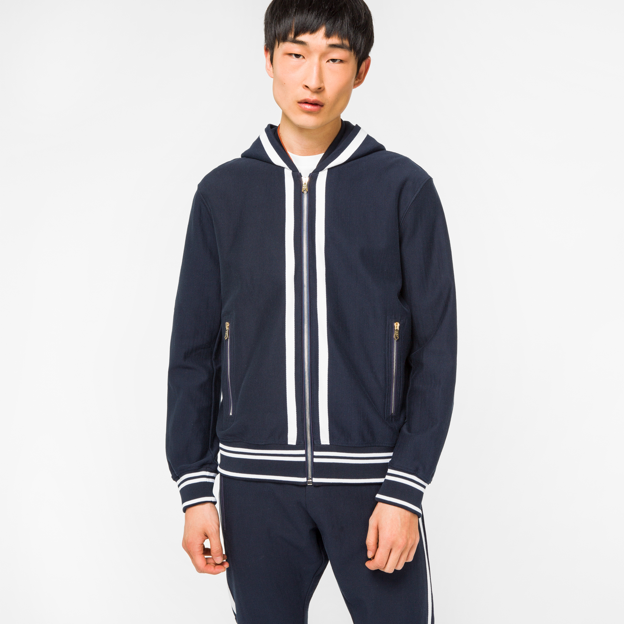 Paul Smith Men's Navy Loopback-Cotton Zip-Through Hoodie With Double-Stripe