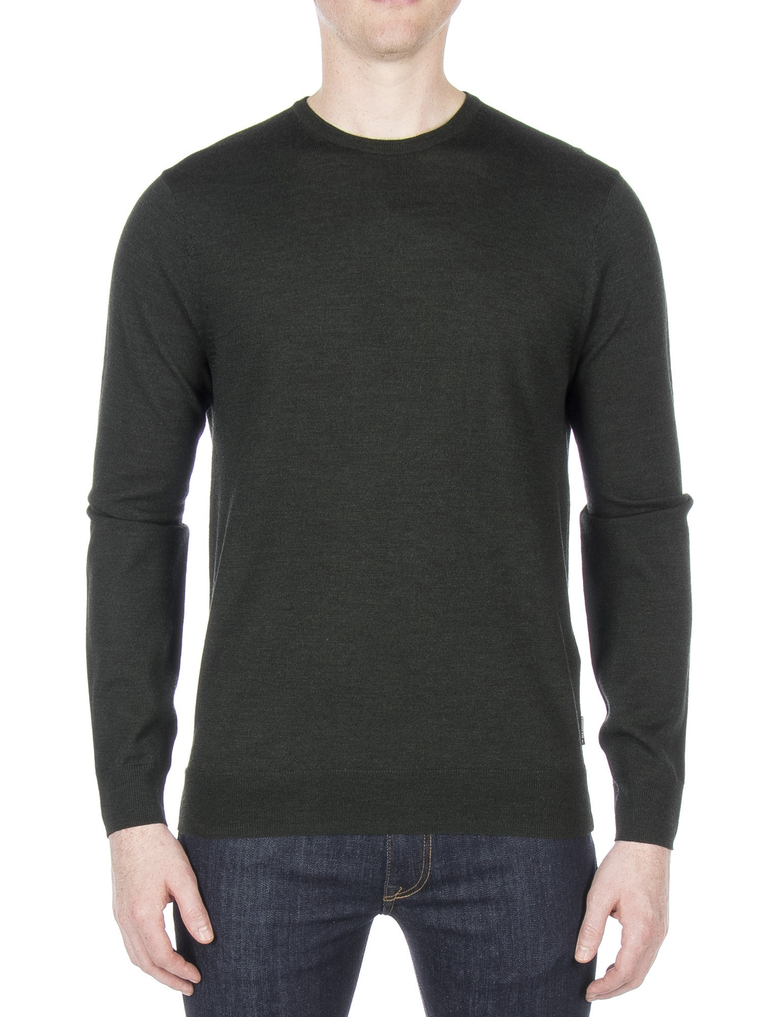 Ben Sherman PEAT GREEN MARL Merino Crew Neck Jumper