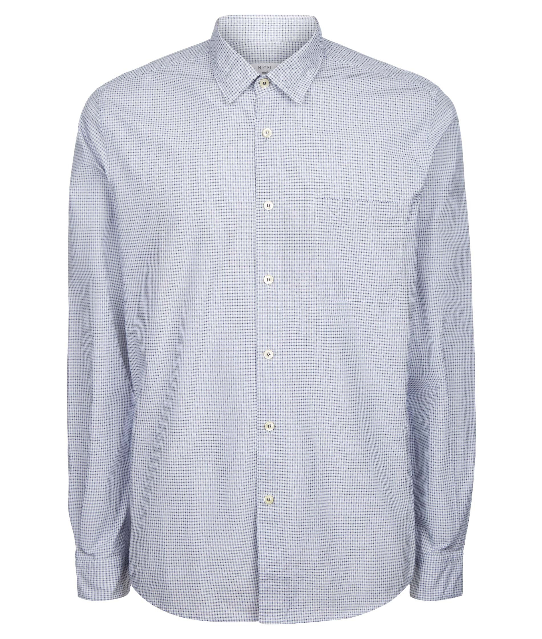 Nigel Hall Textured Navy and White Shirt - Vic