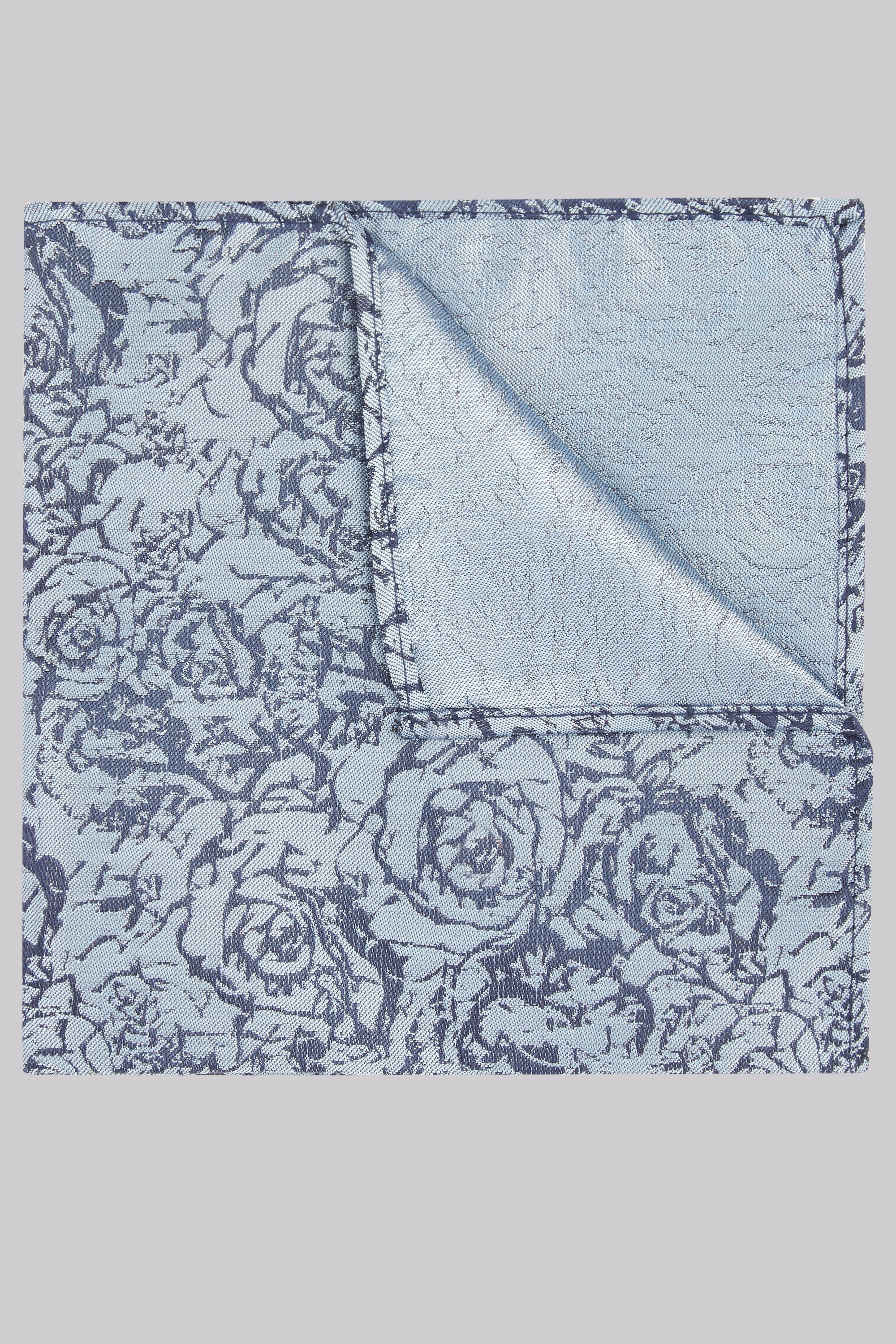 Moss Bros Moss London Navy & Grey Floral Pocket Square