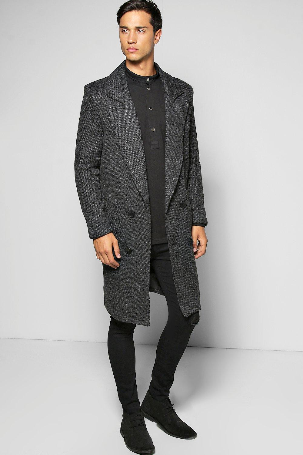 most reliable authorized site retro Textured 3/4 Smart Lined Overcoat by boohooMAN