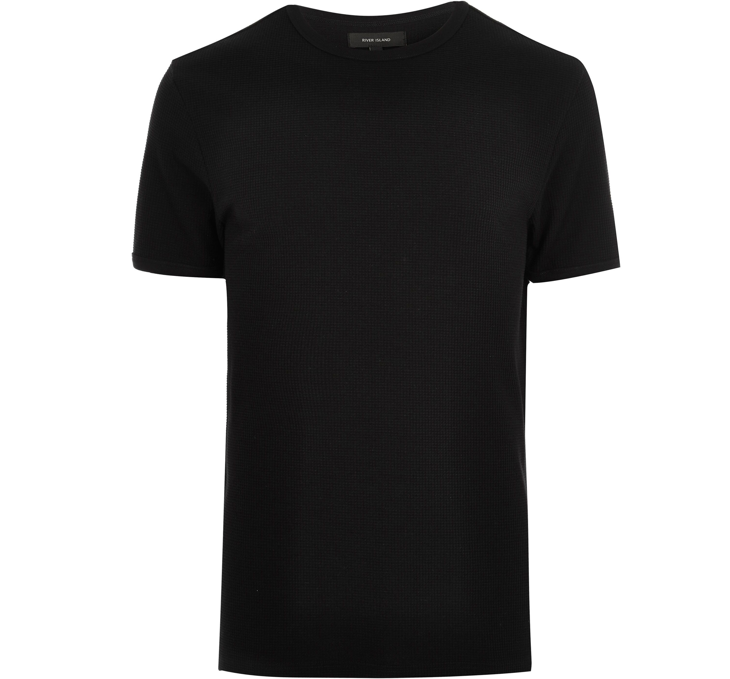 River Island Mens Big and Tall Black waffle crew neck T-shirt