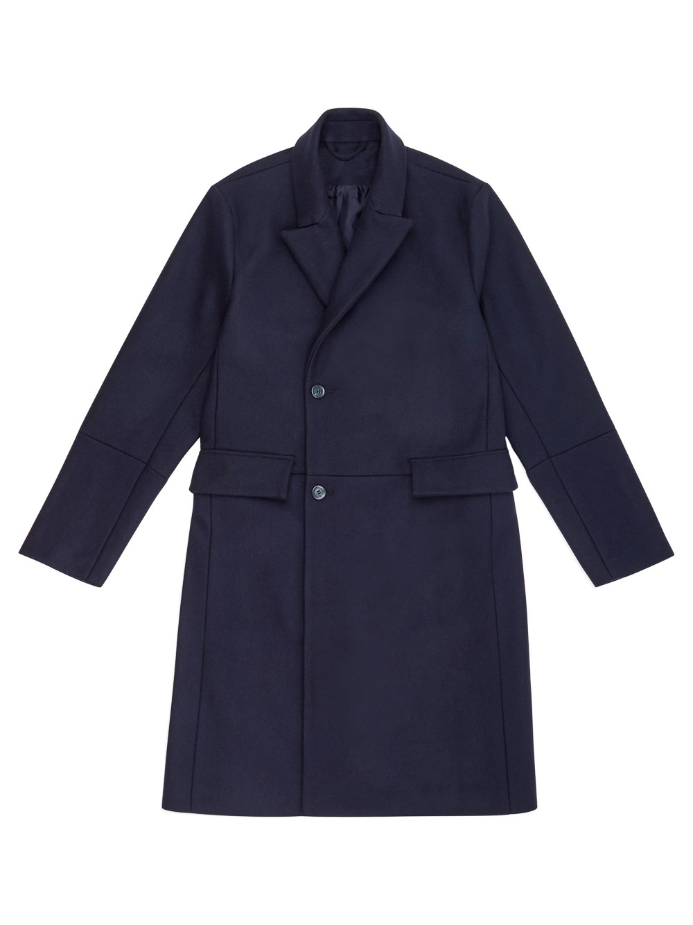 Natural Selection Thames Double Breasted Coat Feltro Mix Midnight