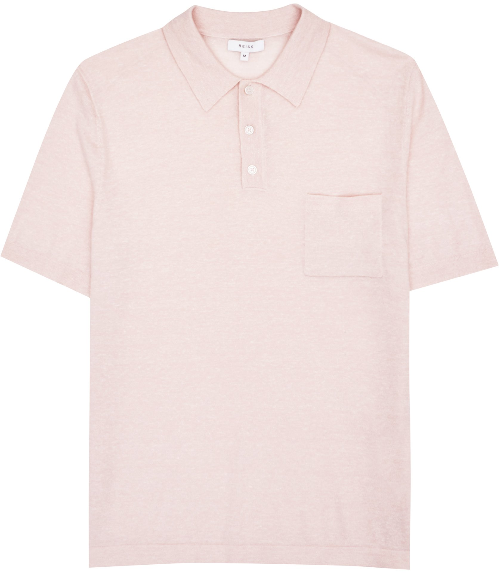 Reiss Soft Pink Gordon Wool And Linen Polo Shirt