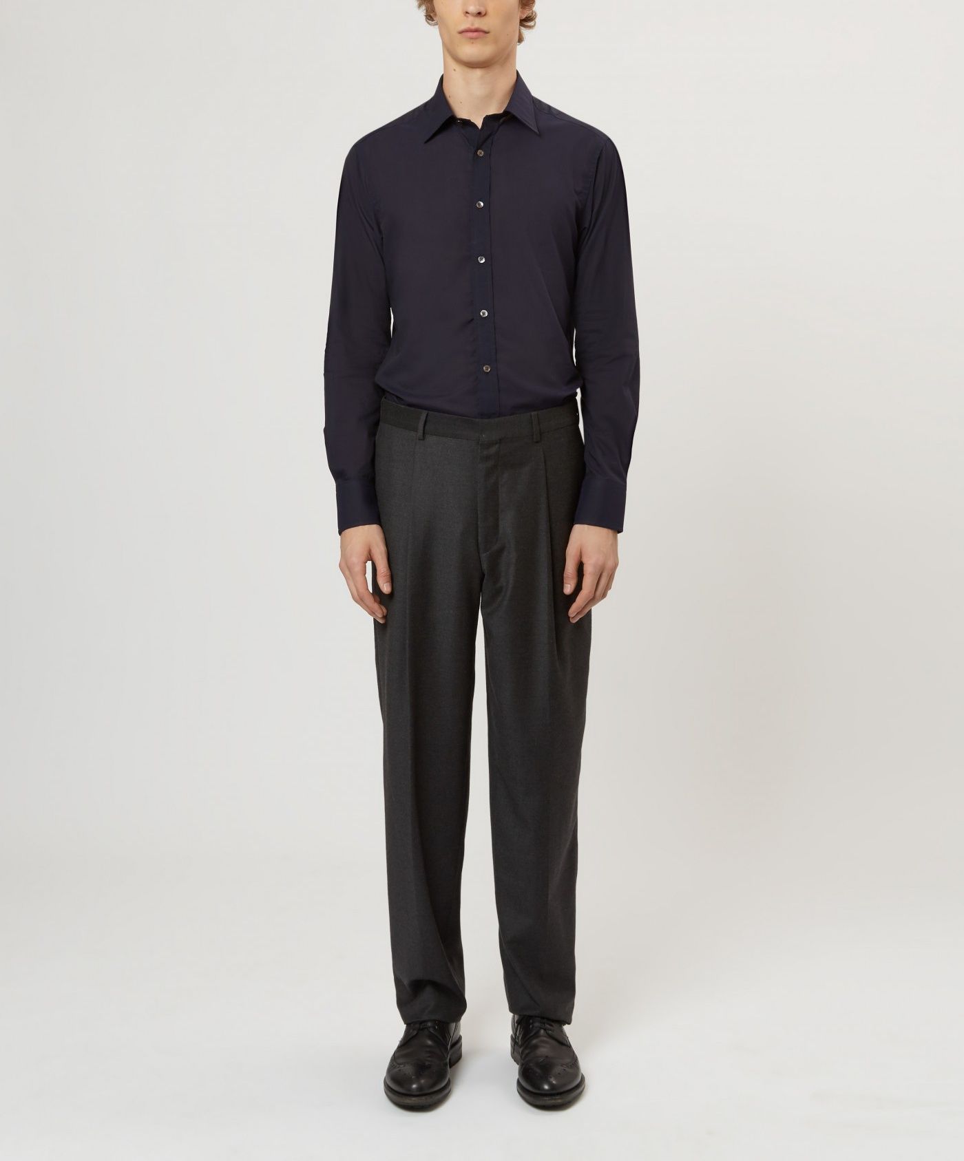 E. Tautz Charcoal Flannel Pleated Trouser