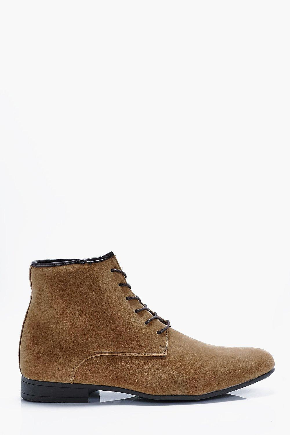 faux suede lace up boots by boohooman \u2014 threadsorry, this item has just gone out of stock our stylists will find you something similar if you sign up for thread thread is an online personal styling