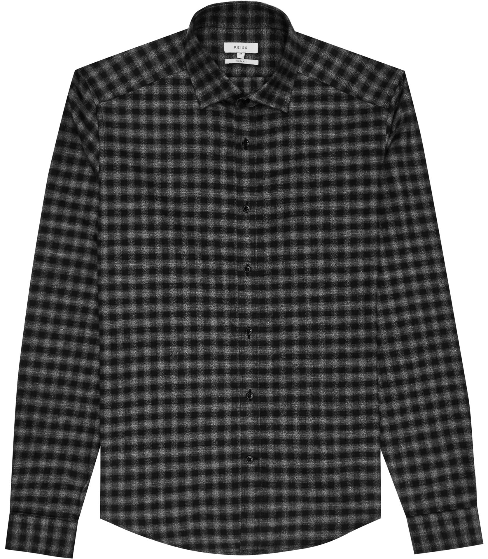 Reiss Grey Galvanise Checked Brushed Cotton Shirt