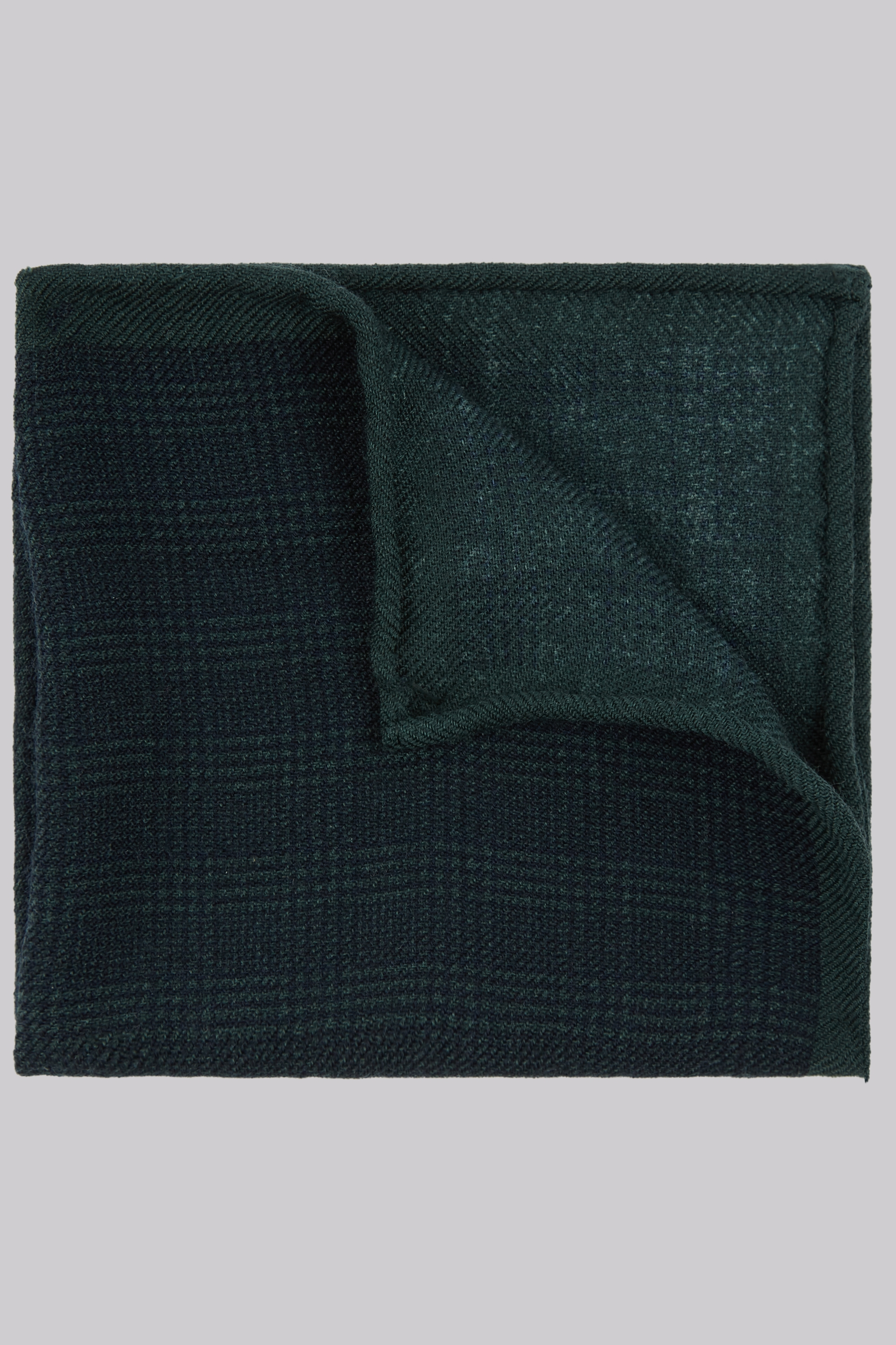 Moss Bros Moss 1851 Green Wool Check Pocket Square