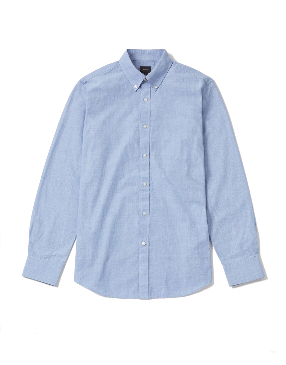 MVP Clovelly End-on-End Slim Fit Shirt - Pale Blue