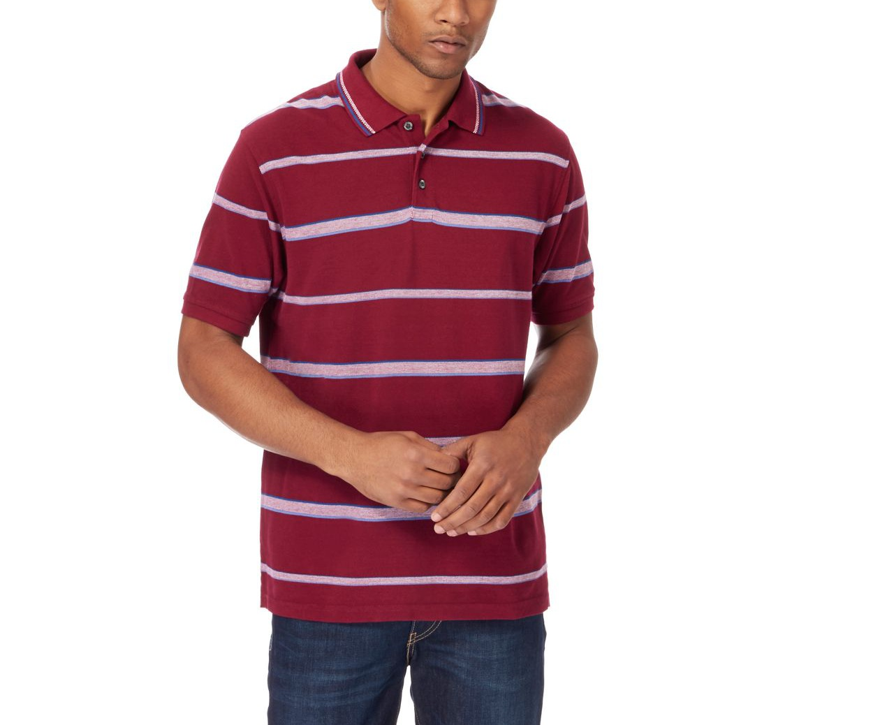 Maine New England Plum Dark red striped polo shirt