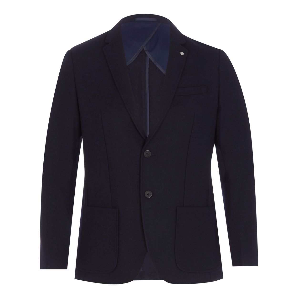 J by Jasper Conran Navy textured single breasted wool blend jacket