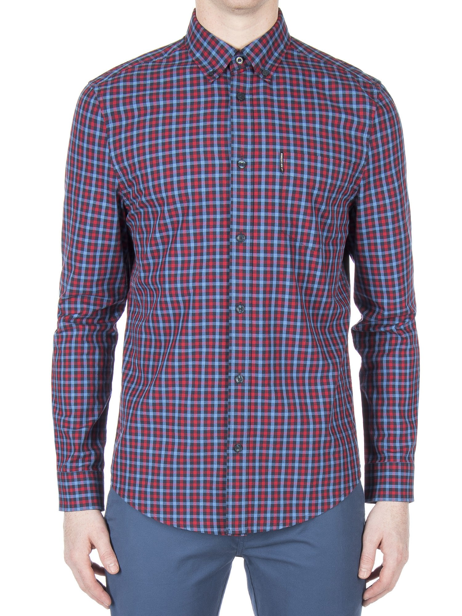 Ben Sherman Bright Cobalt Long Sleeve House Gingham Shirt Regular Fit (Mod Fit)