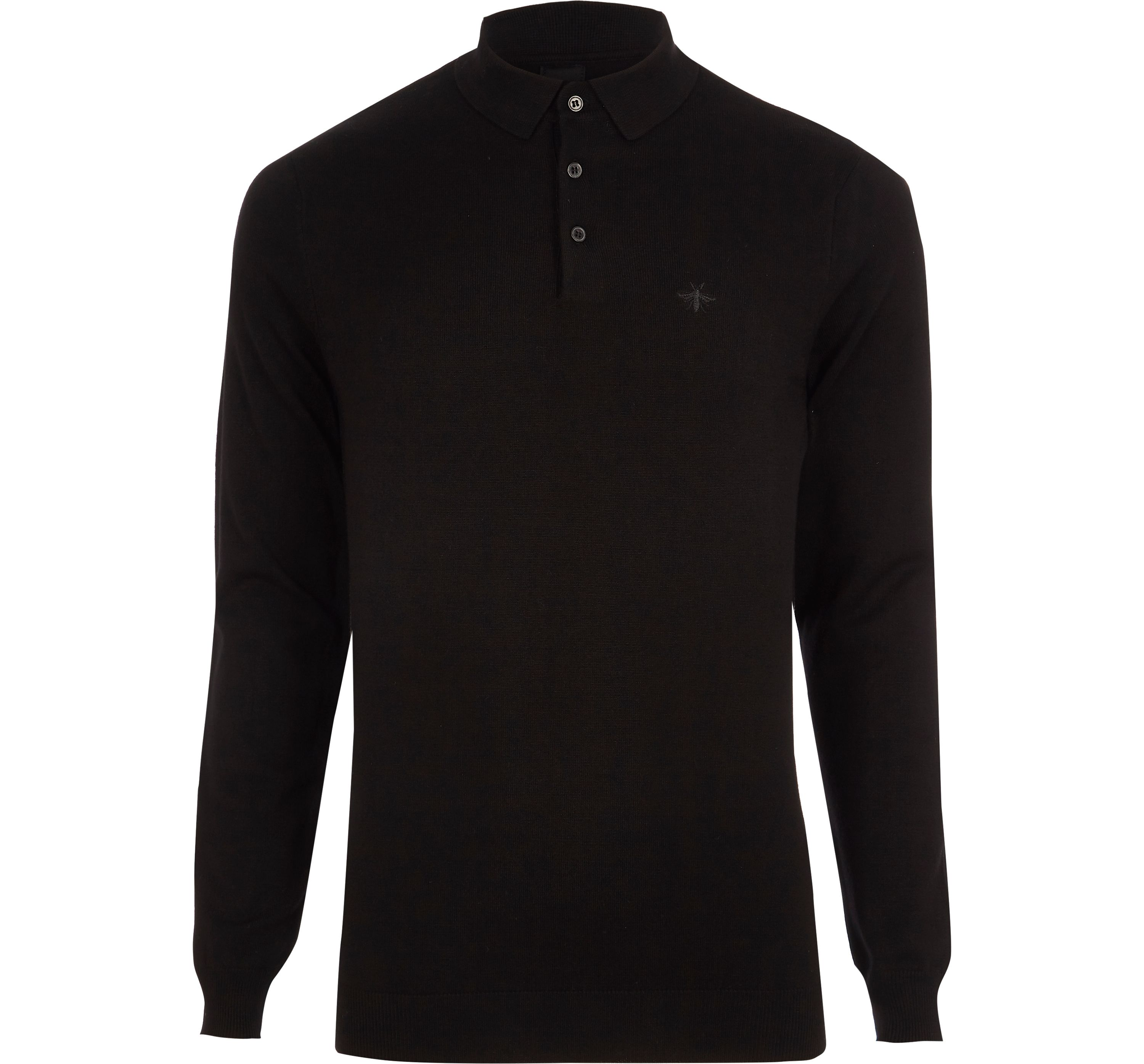 River Island Mens Black slim fit long sleeve knitted polo shirt
