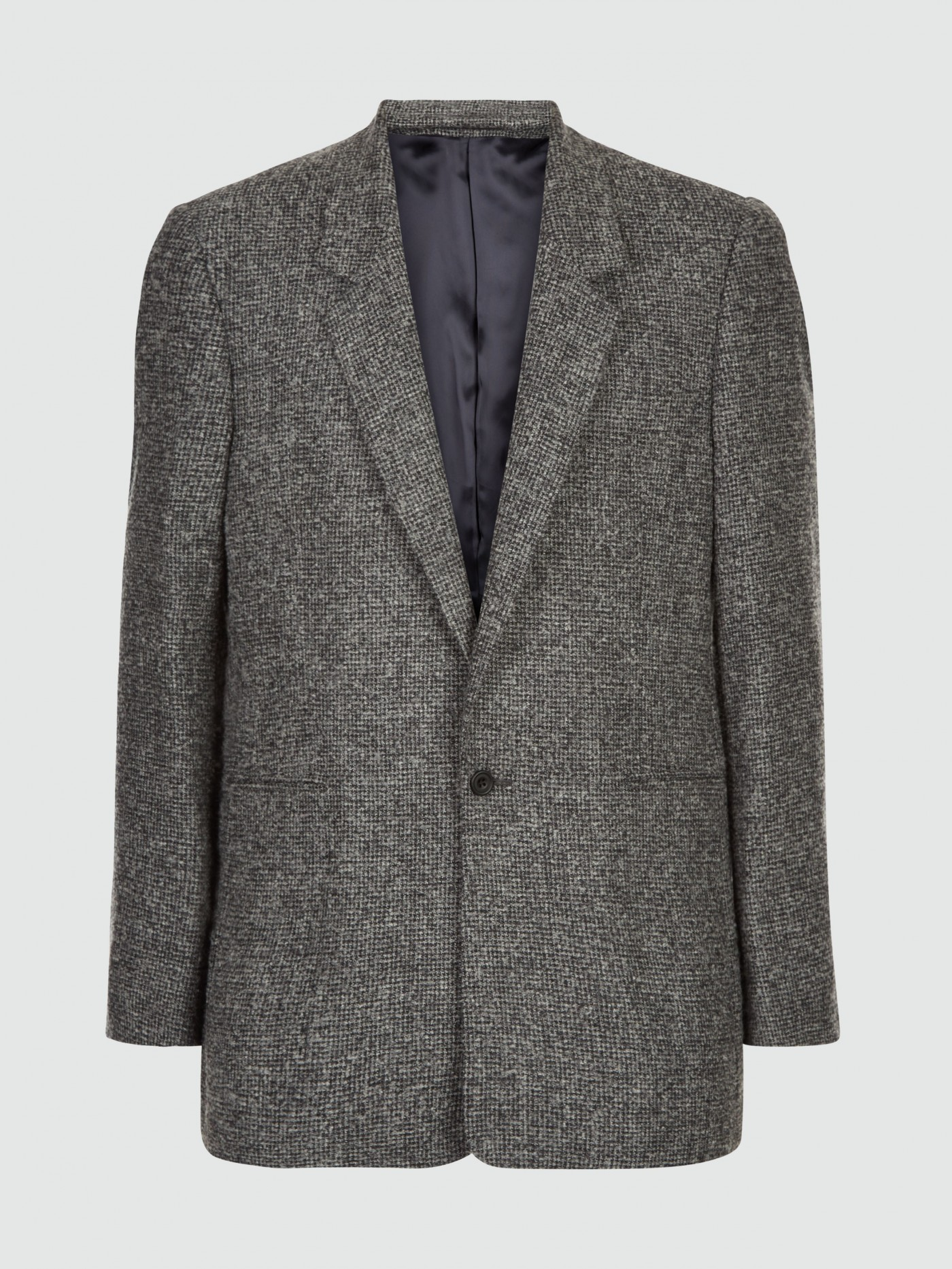 E. Tautz Grey / Charcoal Boucle Check Single Breasted Jacket