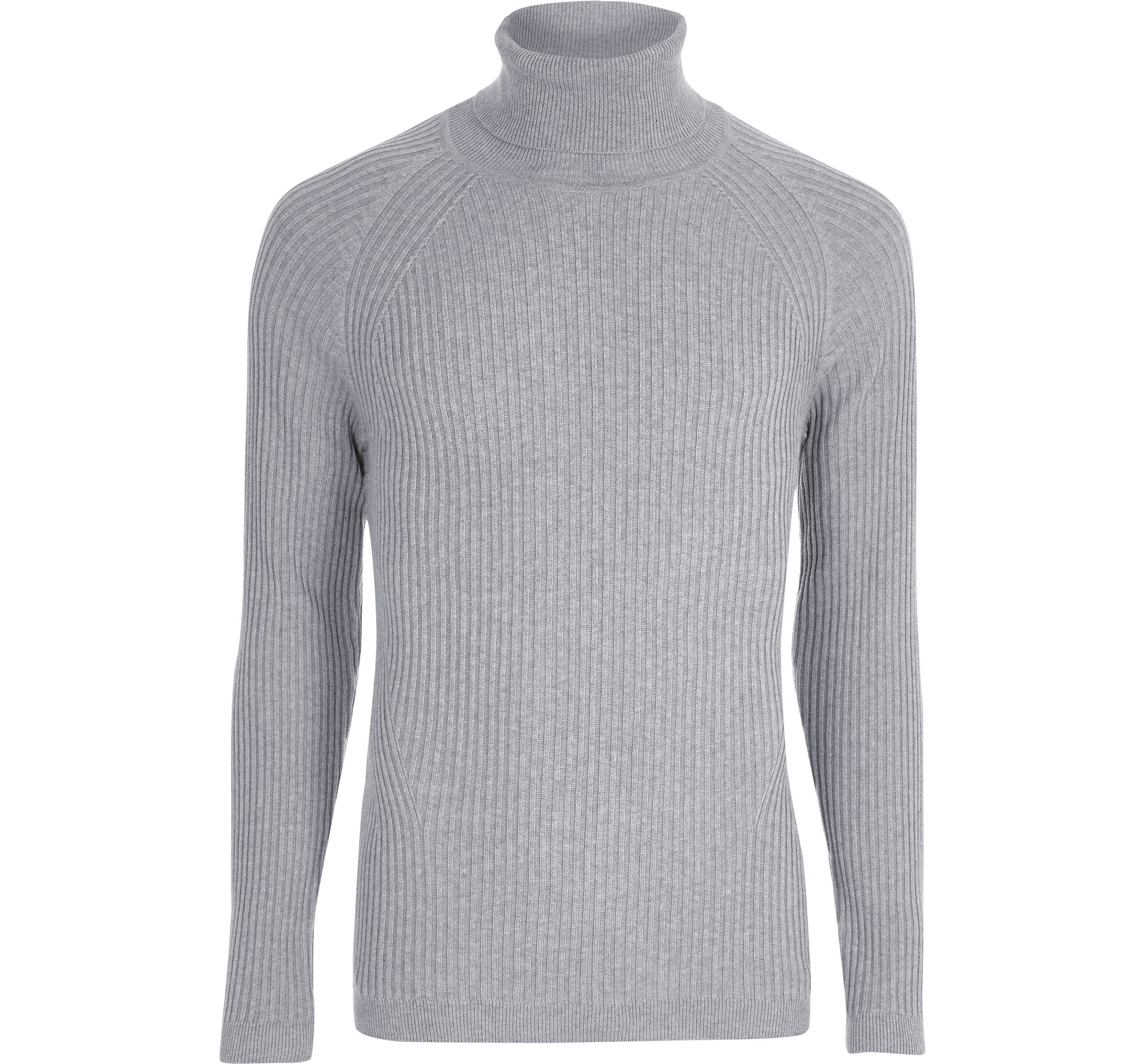 River Island Mens Grey ribbed muscle fit roll neck jumper