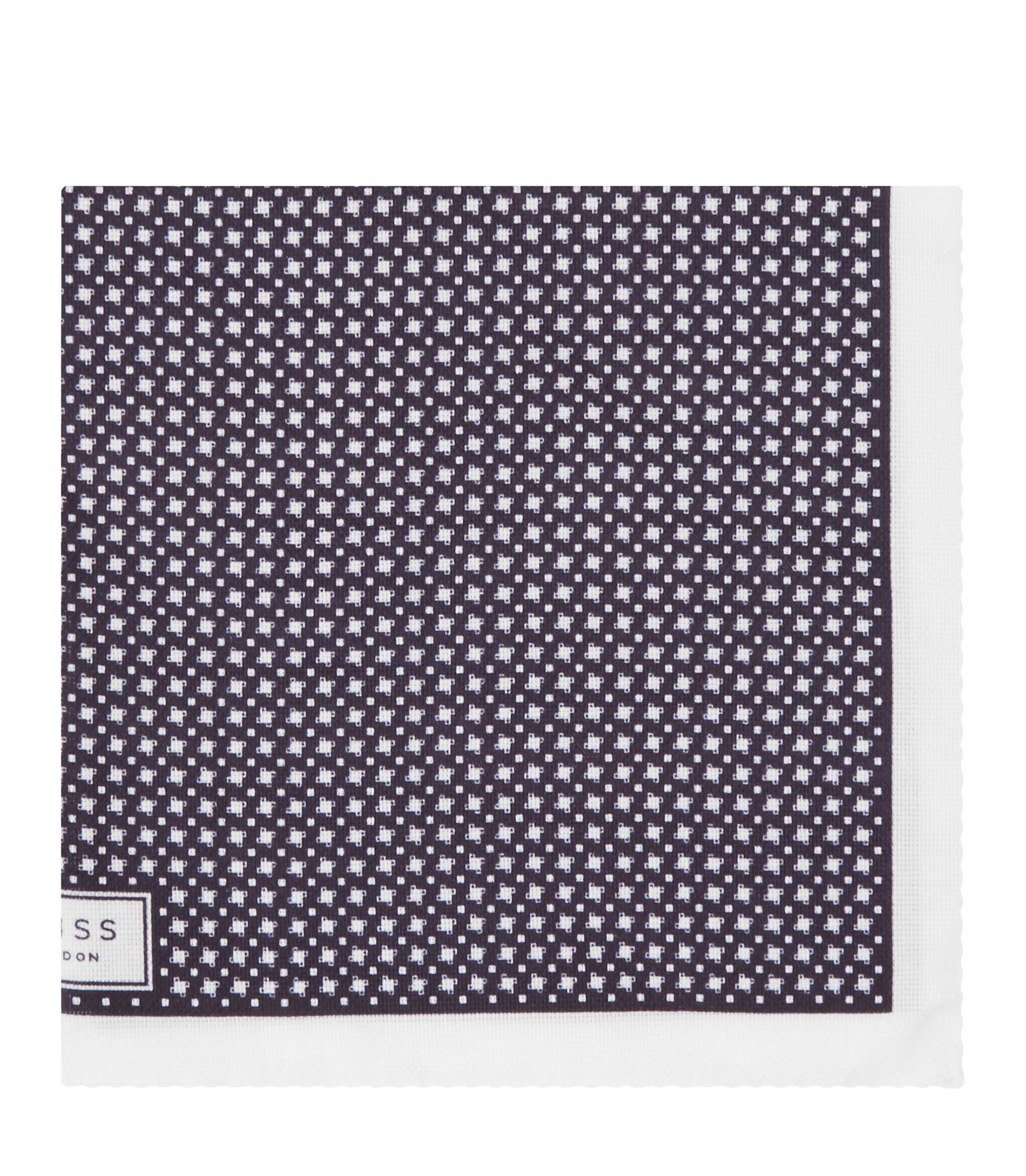 Reiss Navy Diego Houndstooth Pocket Square