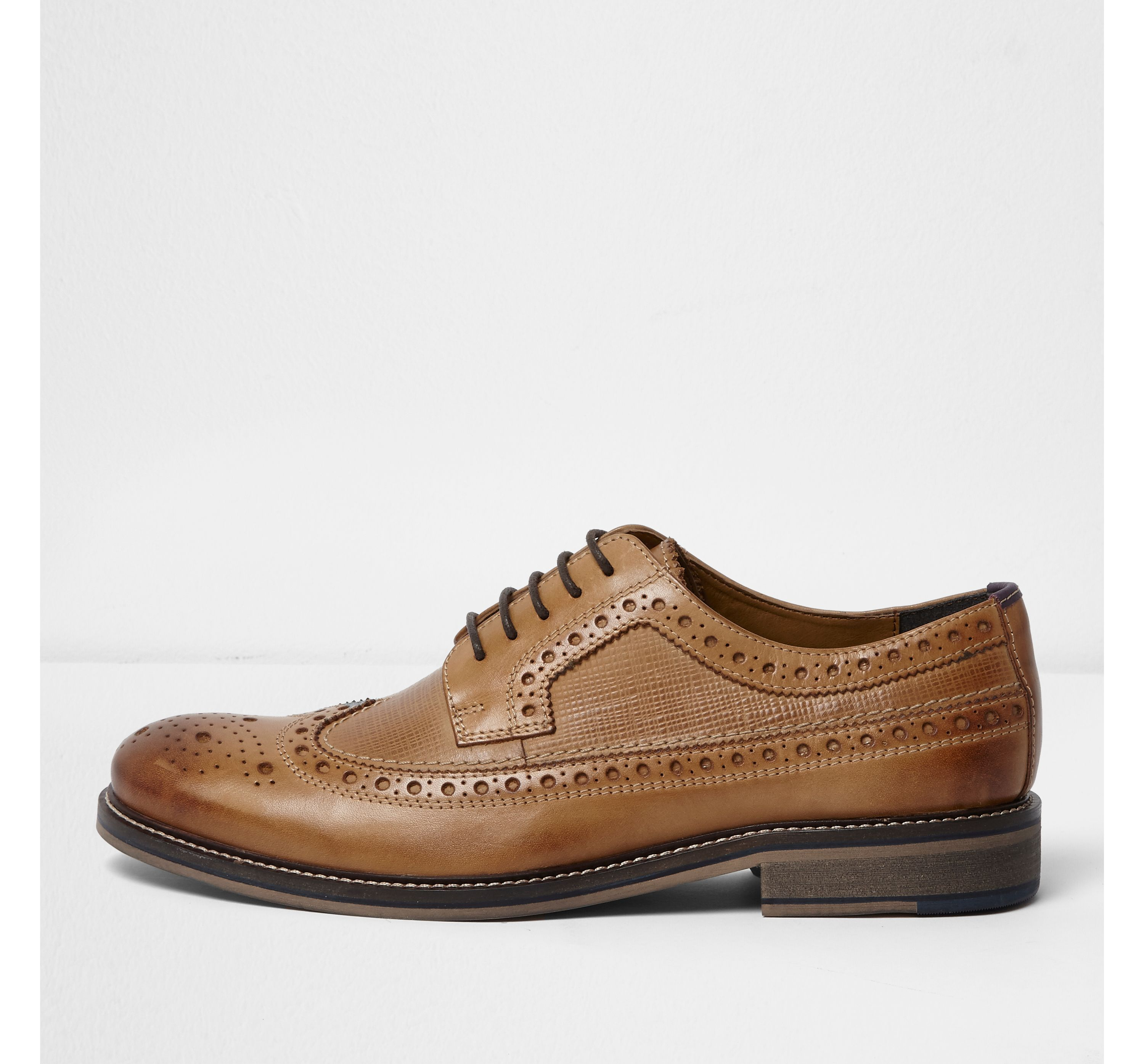 River Island Mens Light Tan leather brogues