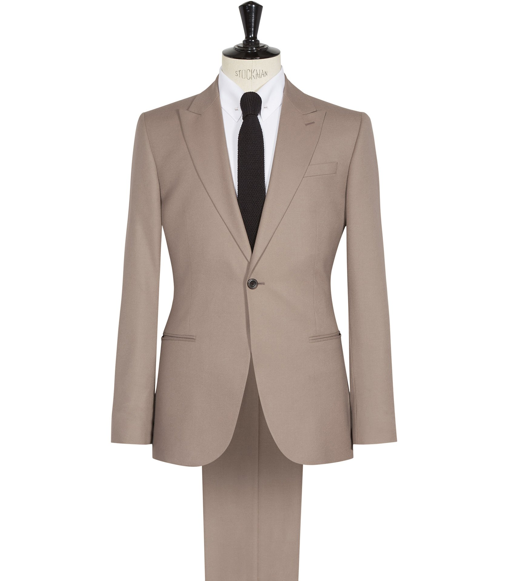 Reiss Taupe Oakland Wool Slim Suit