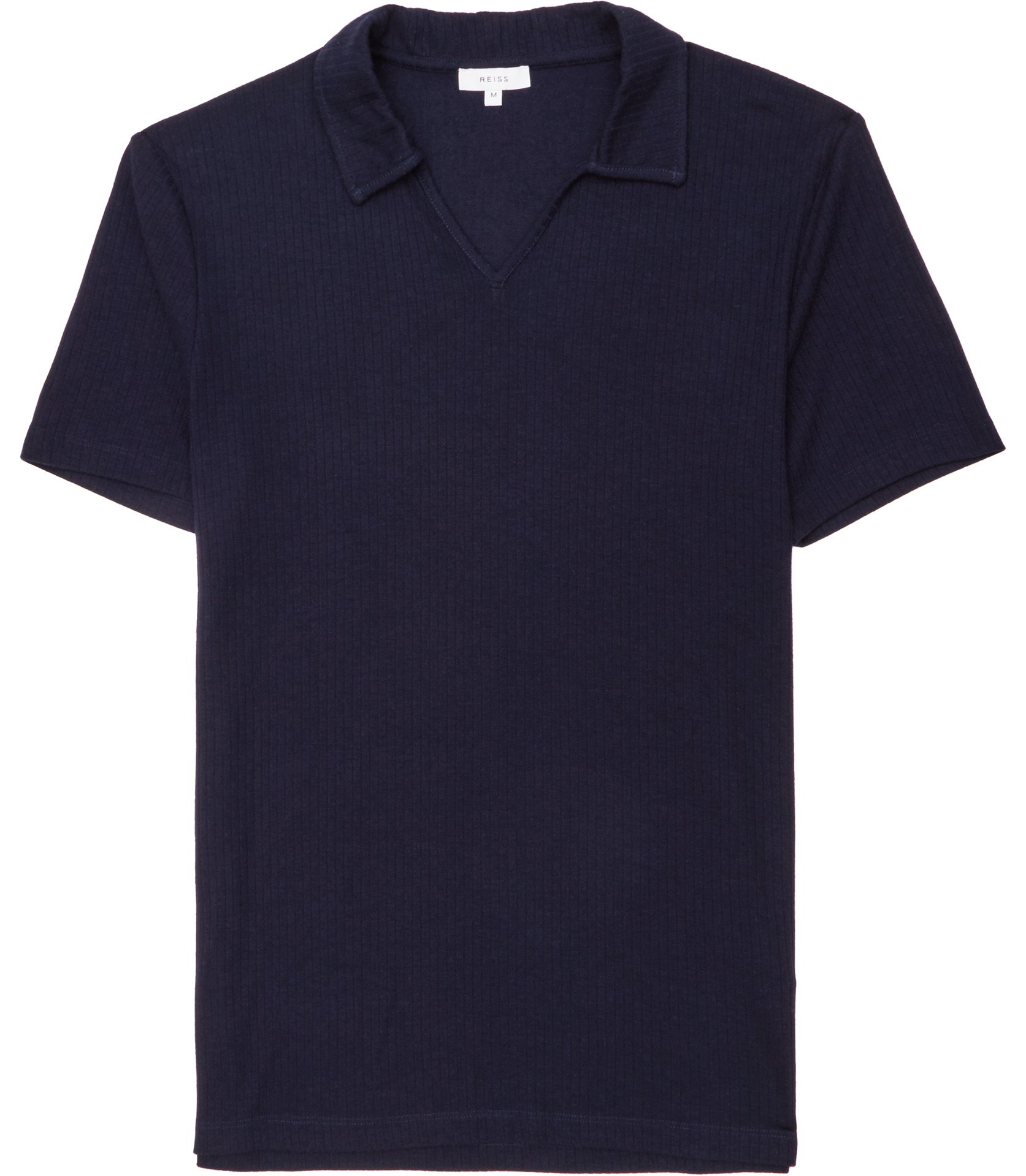 Reiss Navy Charles Ribbed Polo Shirt