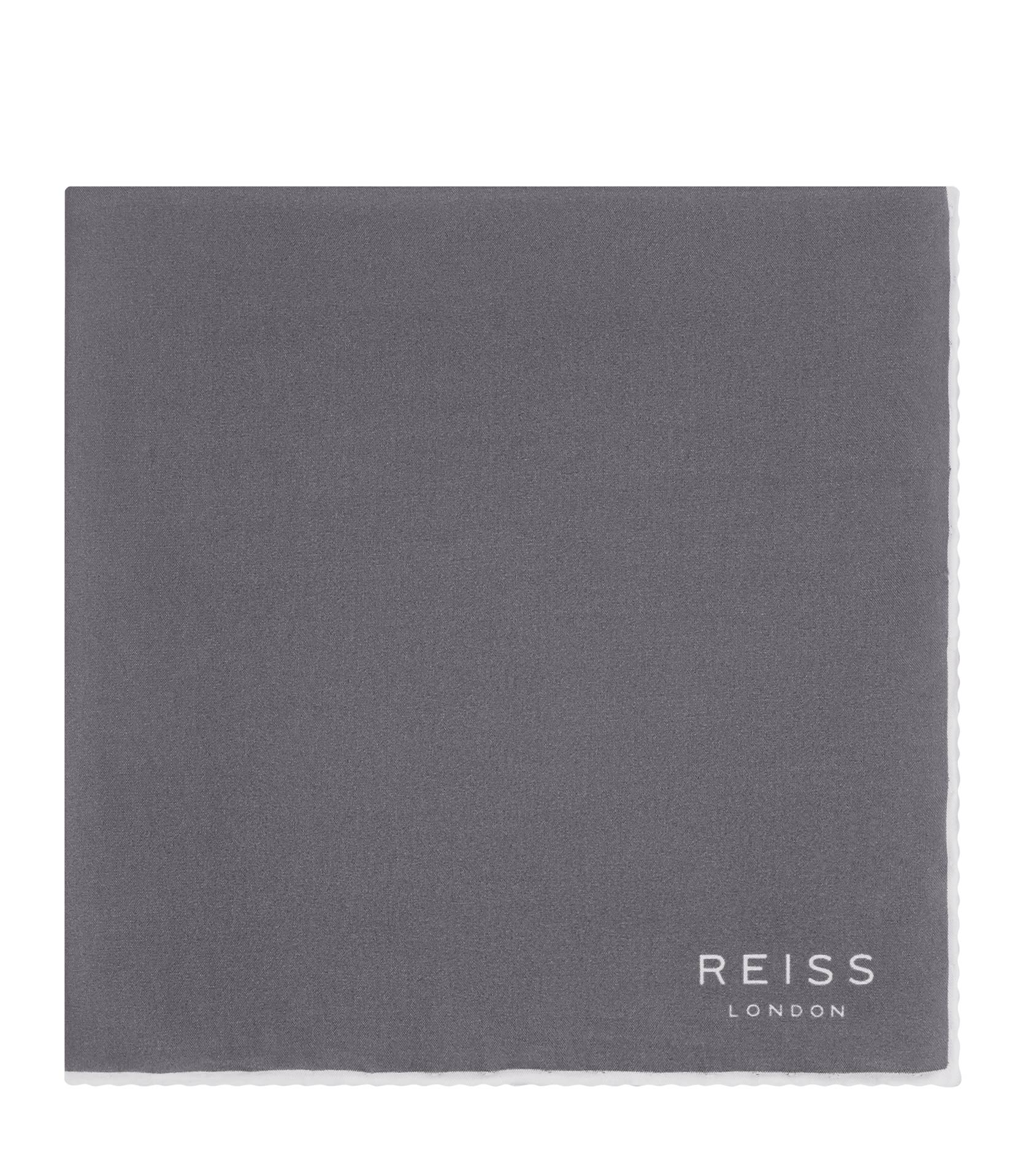 Reiss Silver Horner Silk Piped Pocket Square