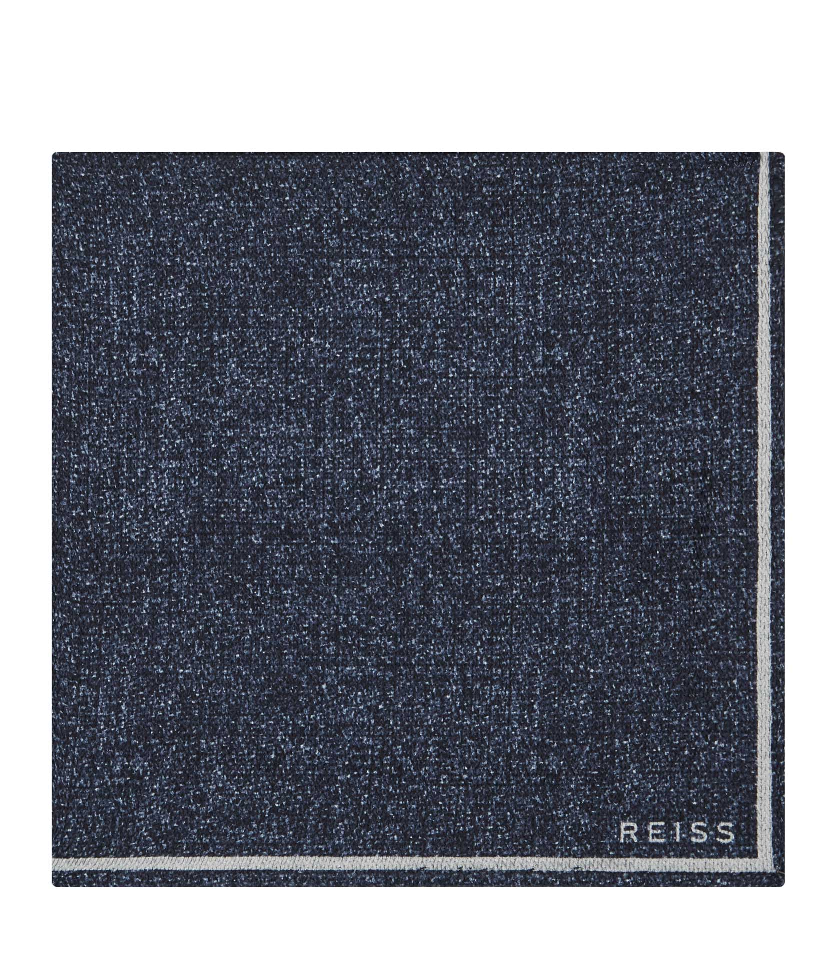 Reiss Navy Craven Silk Pocket Square