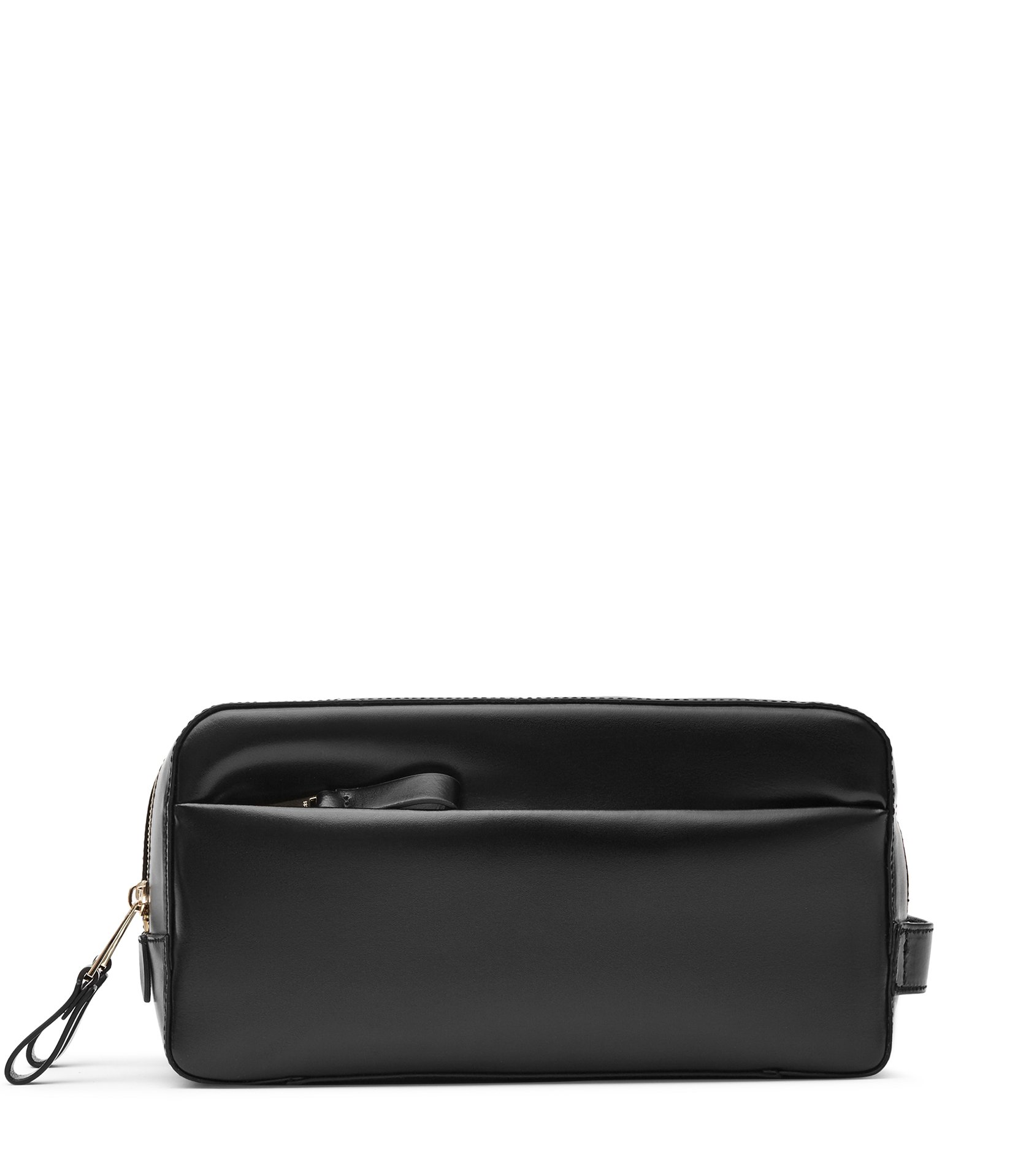 Reiss Black Leather Wash Bag