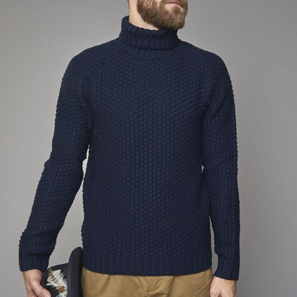 Suit Navy Roll Neck