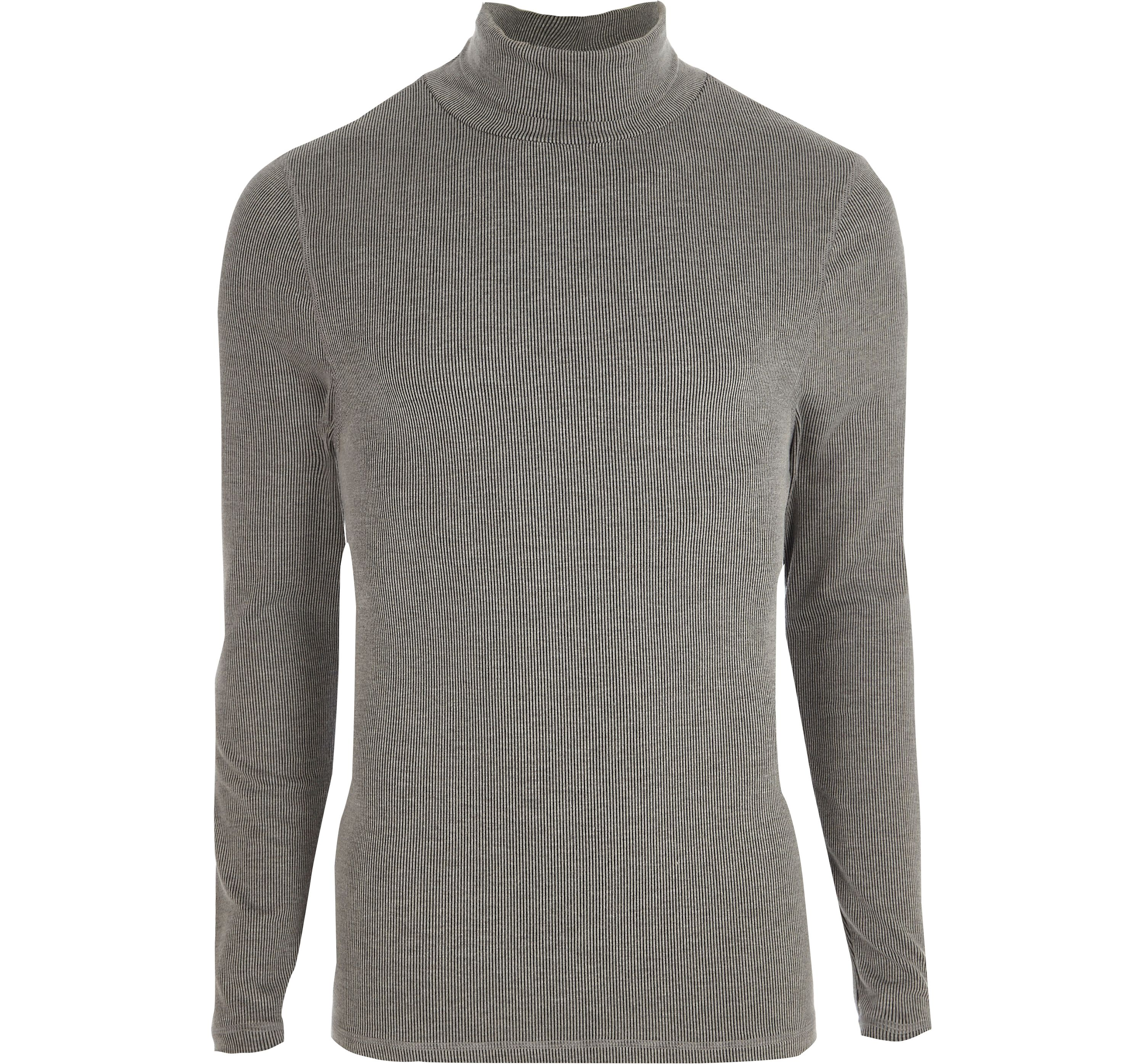 River Island Mens Grey long sleeve roll neck slim fit T-shirt