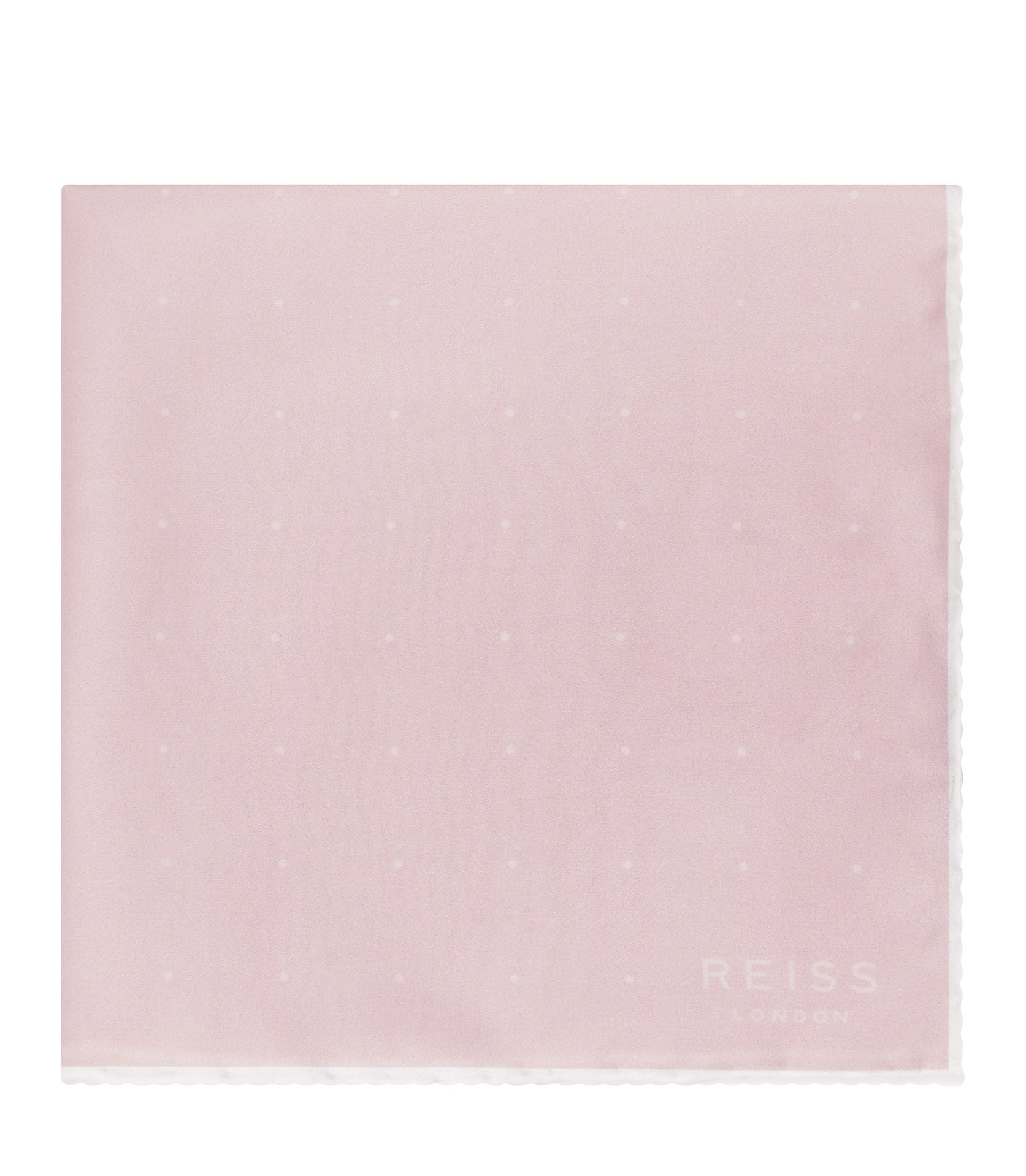 Reiss Soft Pink Helmar Silk Dotted Pocket Square