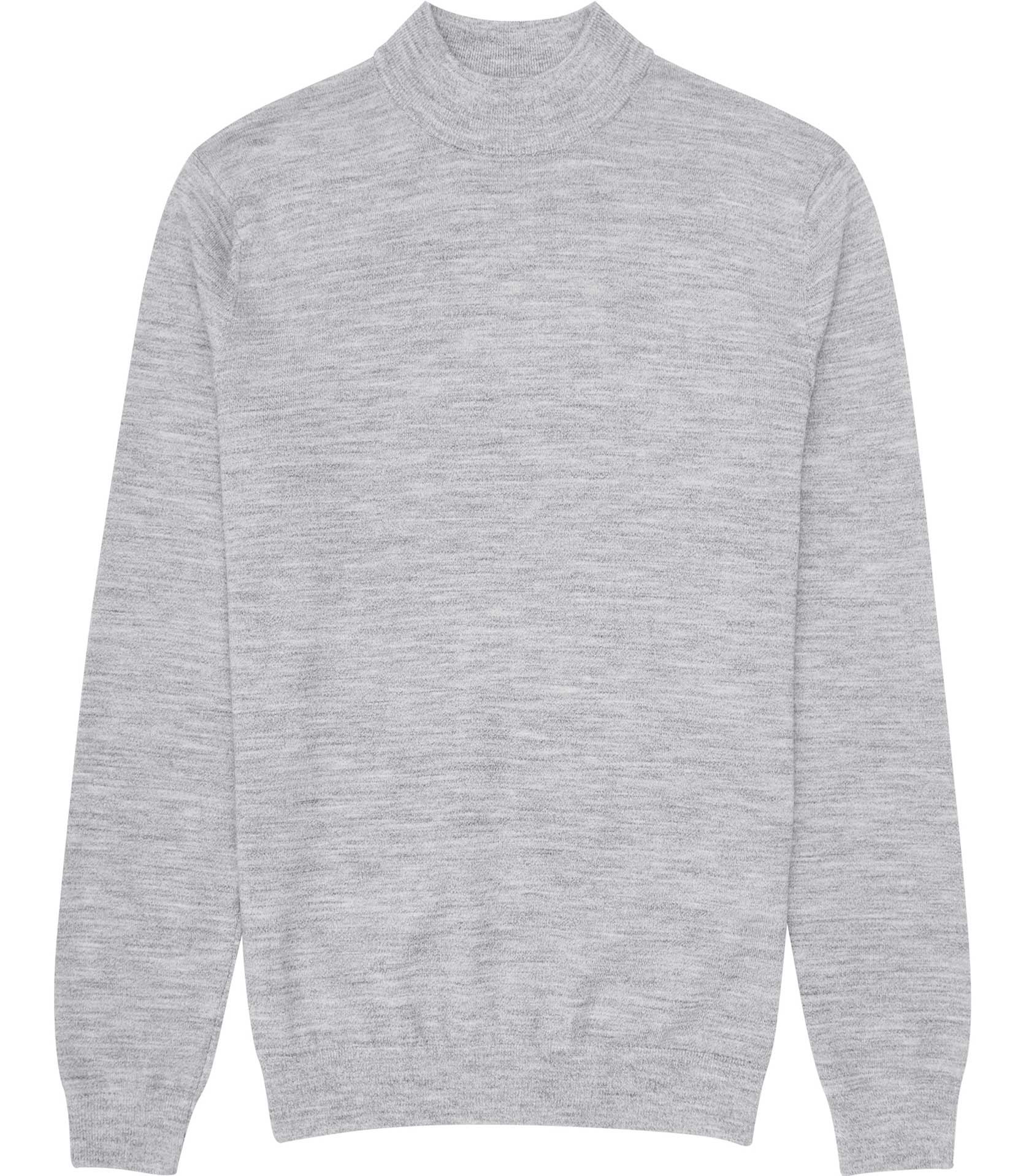 Reiss Light Grey Windsor High-Neck Cotton Jumper