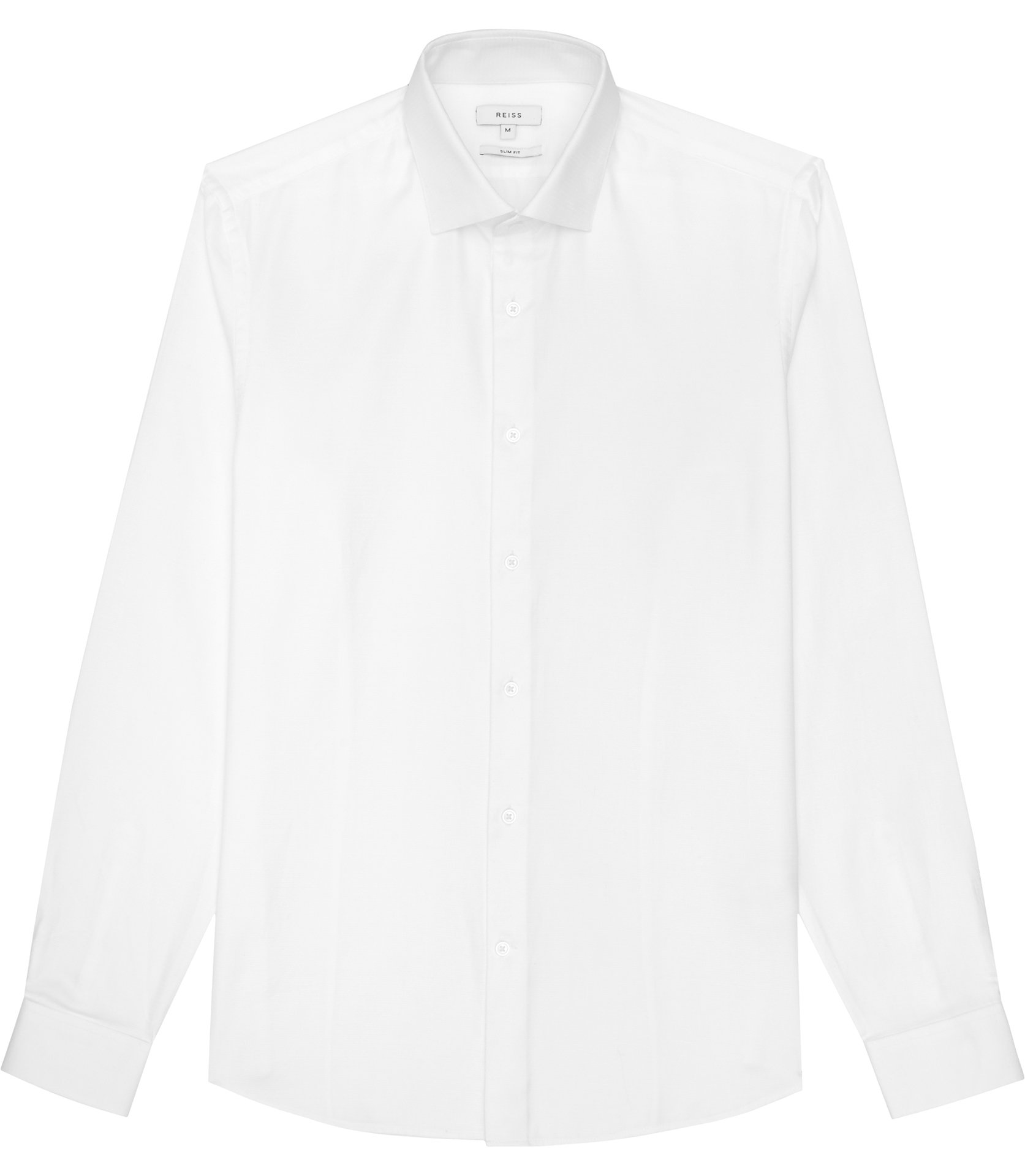 Reiss White Time Slim-Fit Textured Shirt