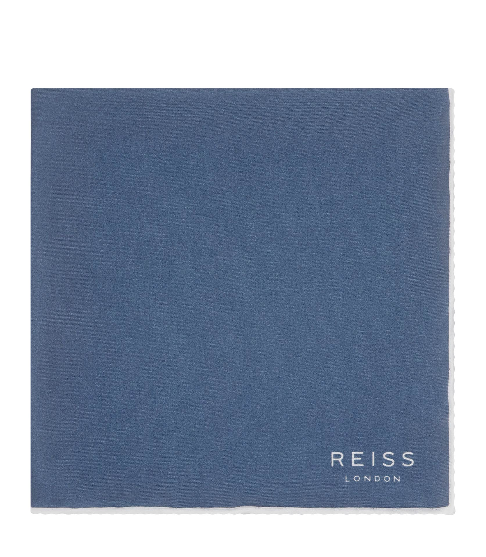 Reiss Airforce Blue Horner Silk Piped Pocket Square