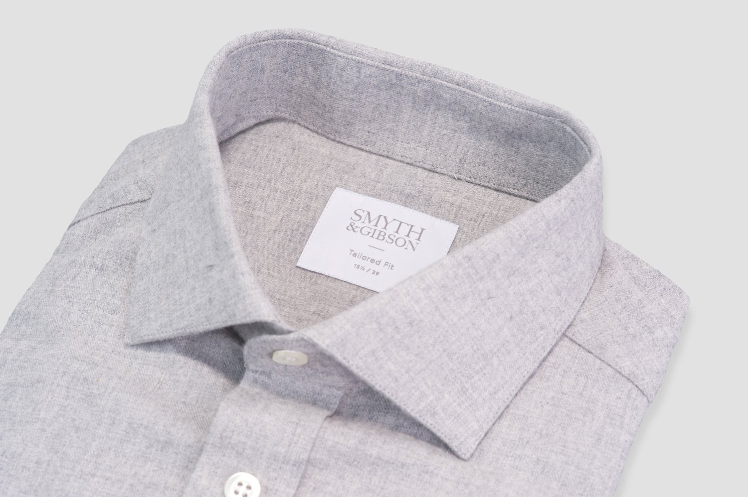Smyth & Gibson Brushed Cotton Tailored Fit Shirt In Light Grey
