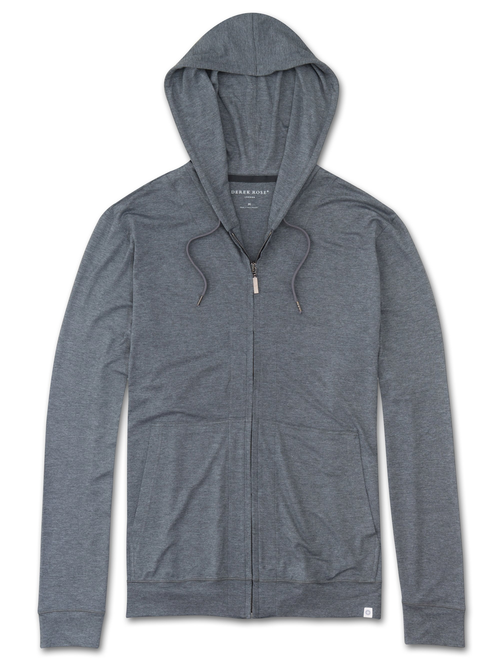 Derek Rose Men's Jersey Hoodie — Marlowe Micro Modal Stretch Charcoal