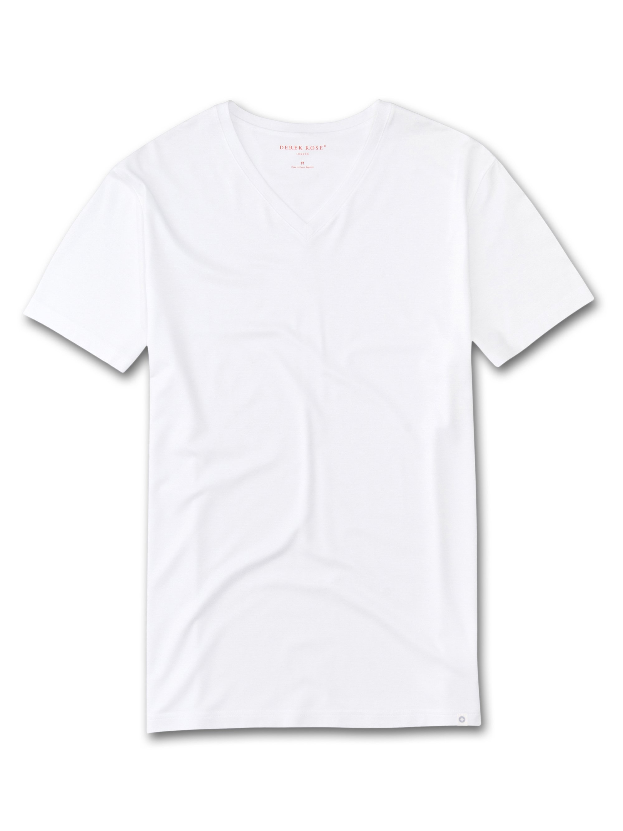 Derek Rose Men's Short Sleeve V-Neck T-Shirt — Basel Micro Modal Stretch White