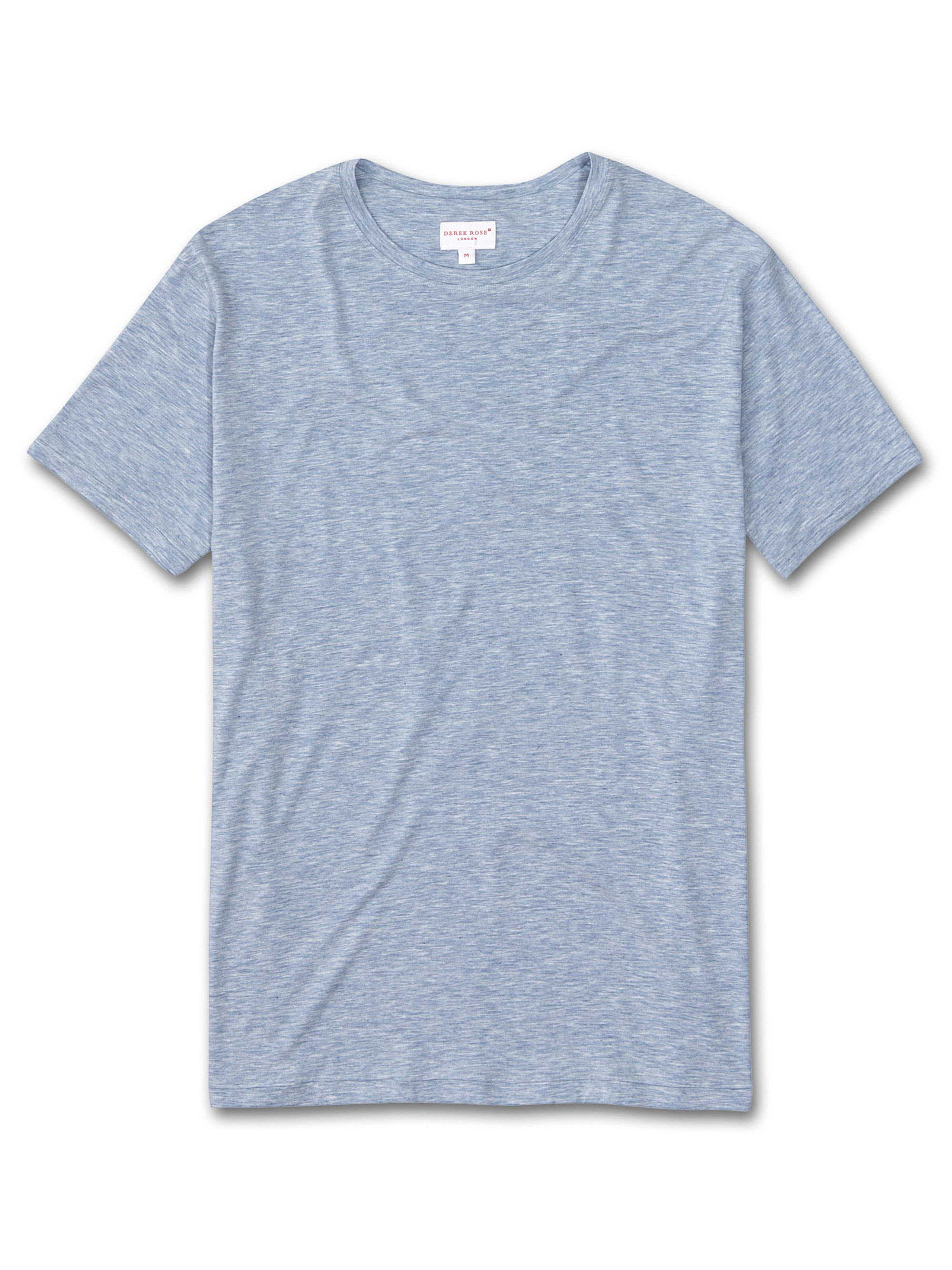Derek Rose Men's Short Sleeve T-Shirt — Ethan Micro Modal Stretch Blue
